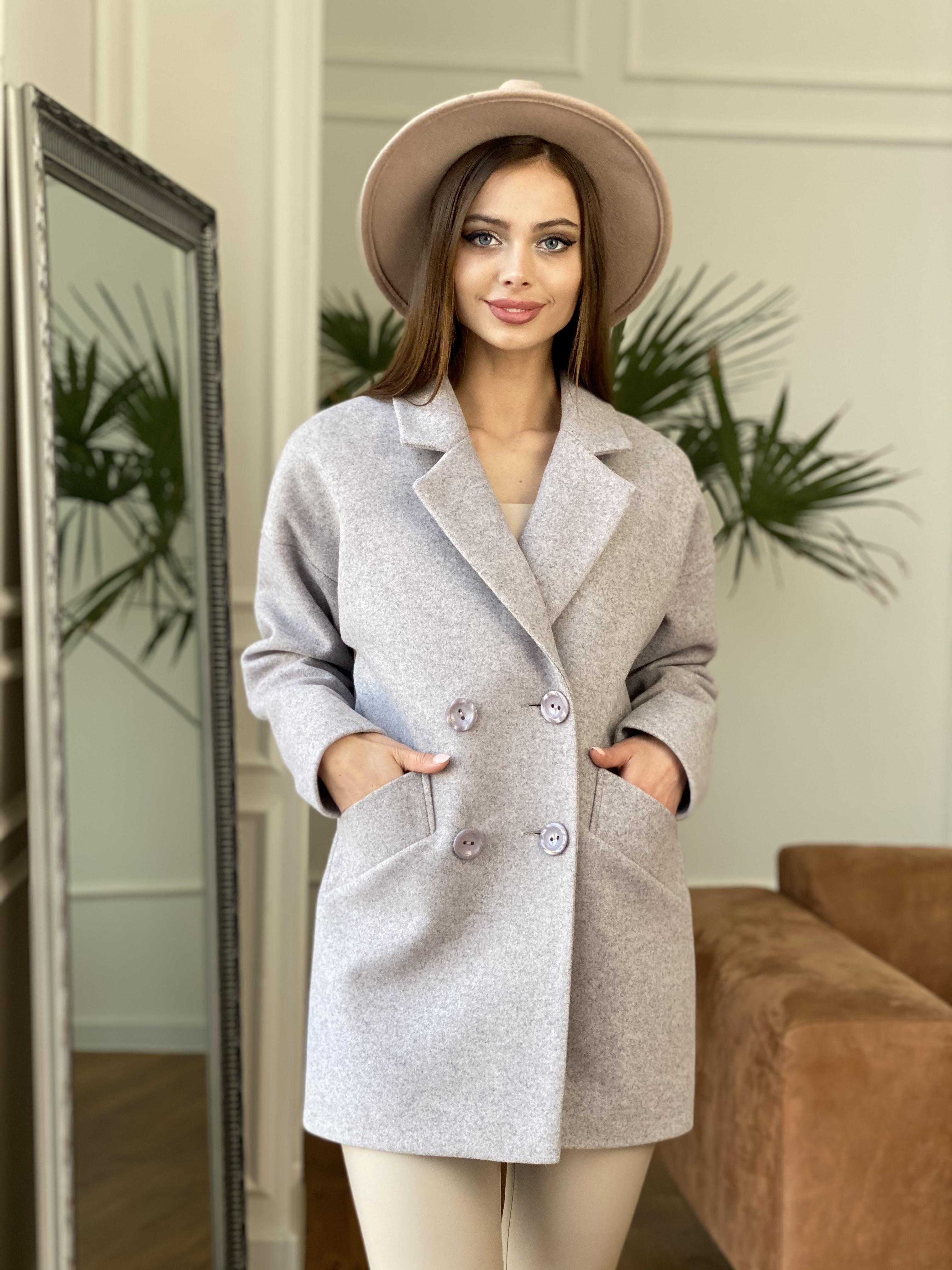 Бонд пальто  кашемировое меланж на трикотаже  10644 АРТ. 47177 Цвет: Серо-розовый - фото 3, интернет магазин tm-modus.ru