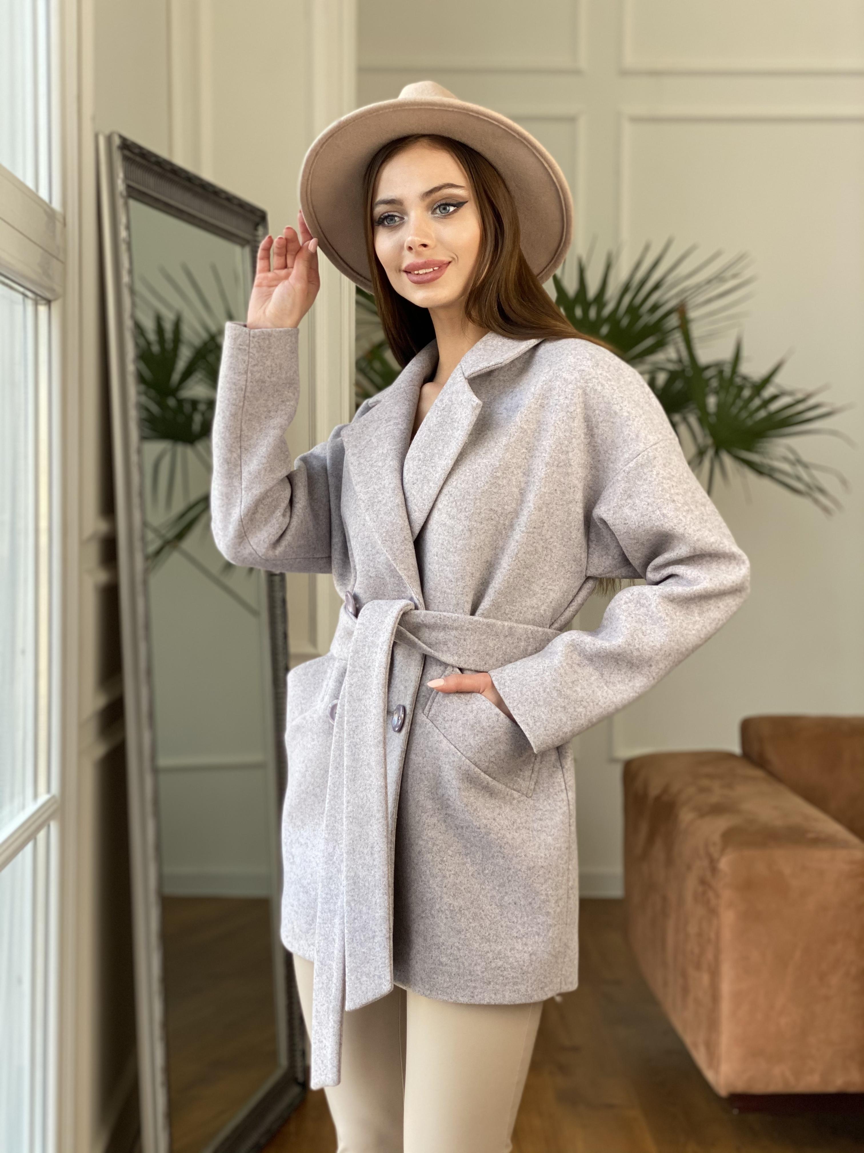 Бонд пальто  кашемировое меланж на трикотаже  10644 АРТ. 47177 Цвет: Серо-розовый - фото 9, интернет магазин tm-modus.ru