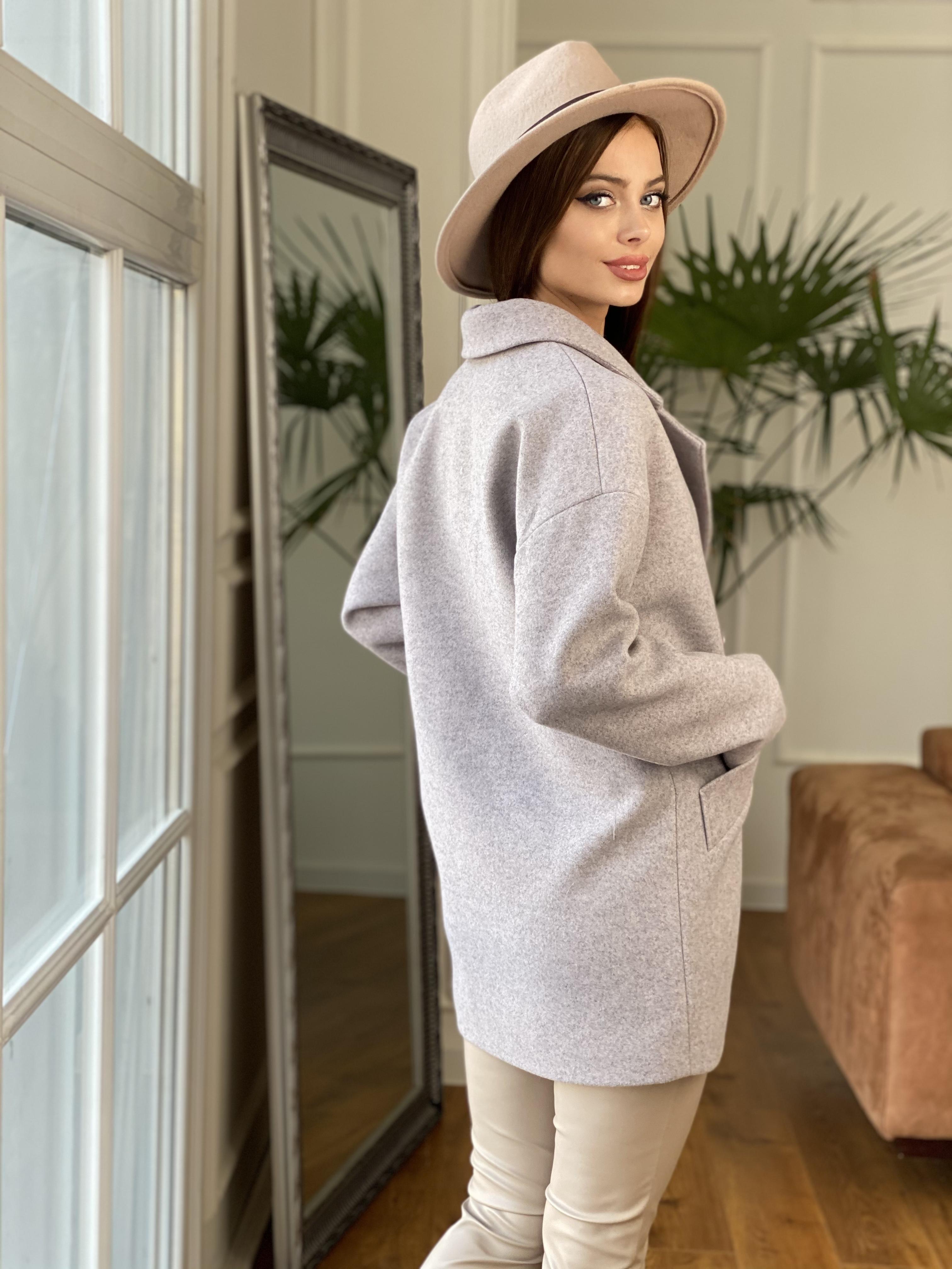 Бонд пальто  кашемировое меланж на трикотаже  10644 АРТ. 47177 Цвет: Серо-розовый - фото 13, интернет магазин tm-modus.ru