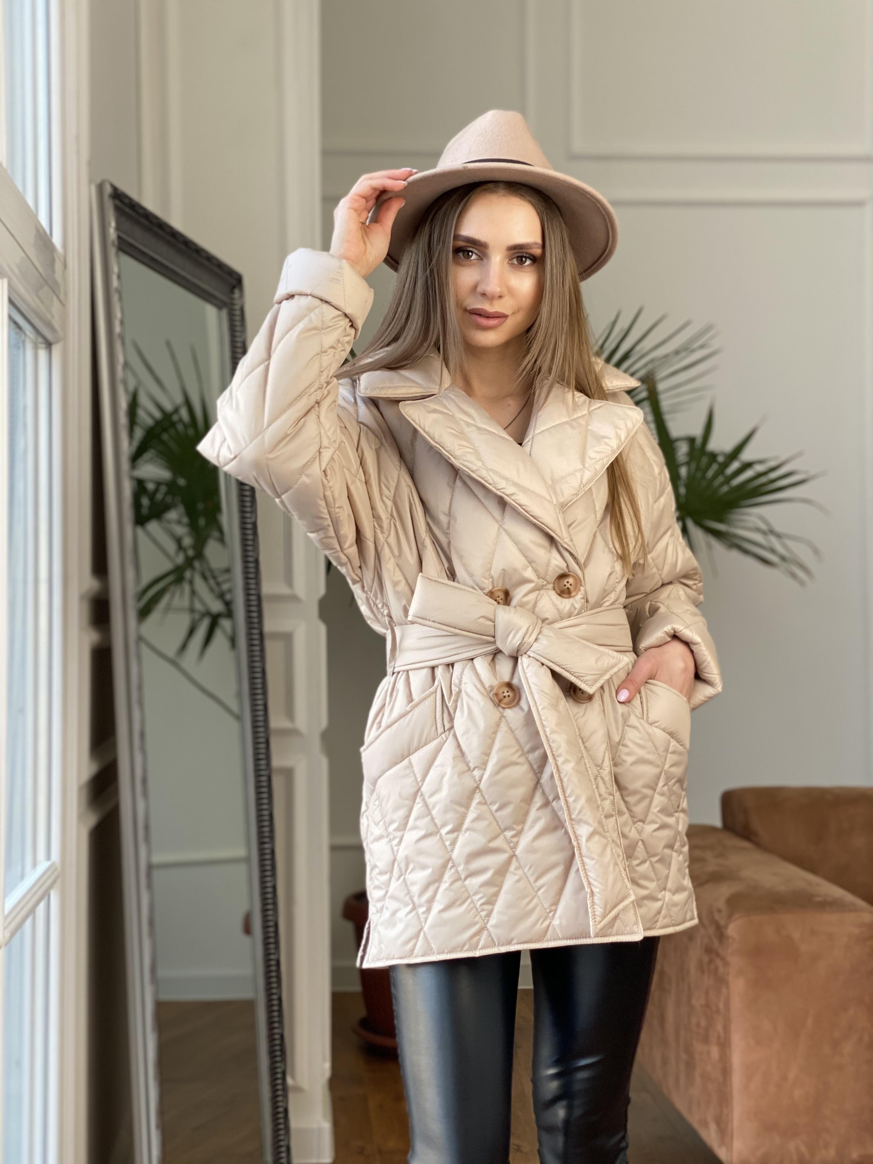 Норд куртка из плащевой ткани стеганая 10883 АРТ. 47411 Цвет: Бежевый - фото 3, интернет магазин tm-modus.ru