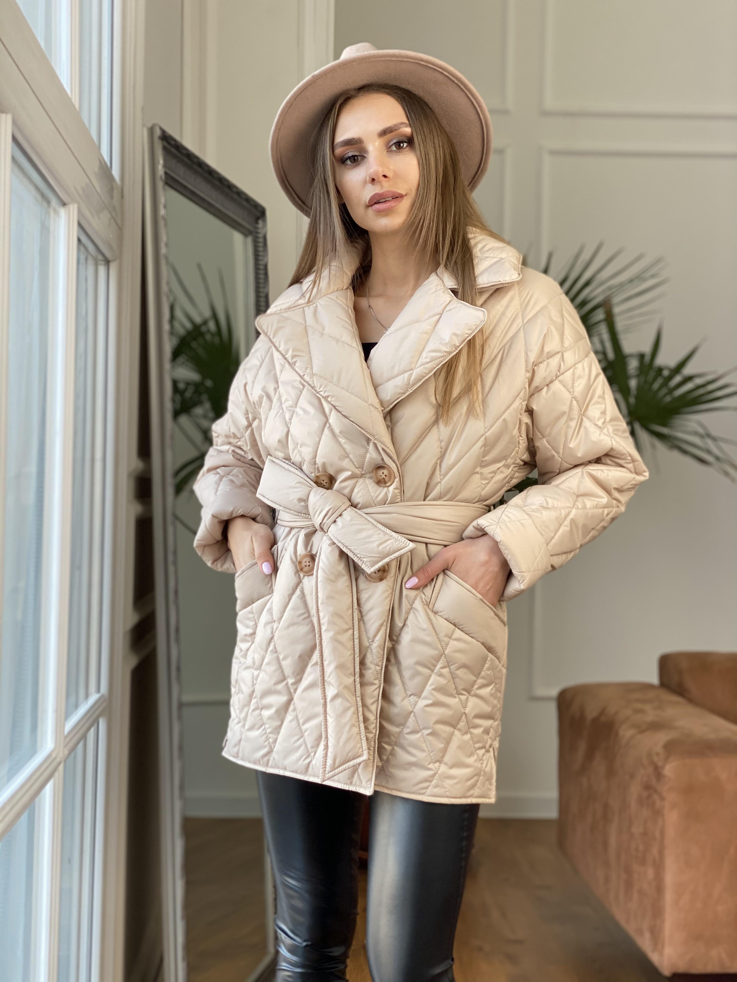 Норд куртка из плащевой ткани стеганая 10883 АРТ. 47411 Цвет: Бежевый - фото 4, интернет магазин tm-modus.ru