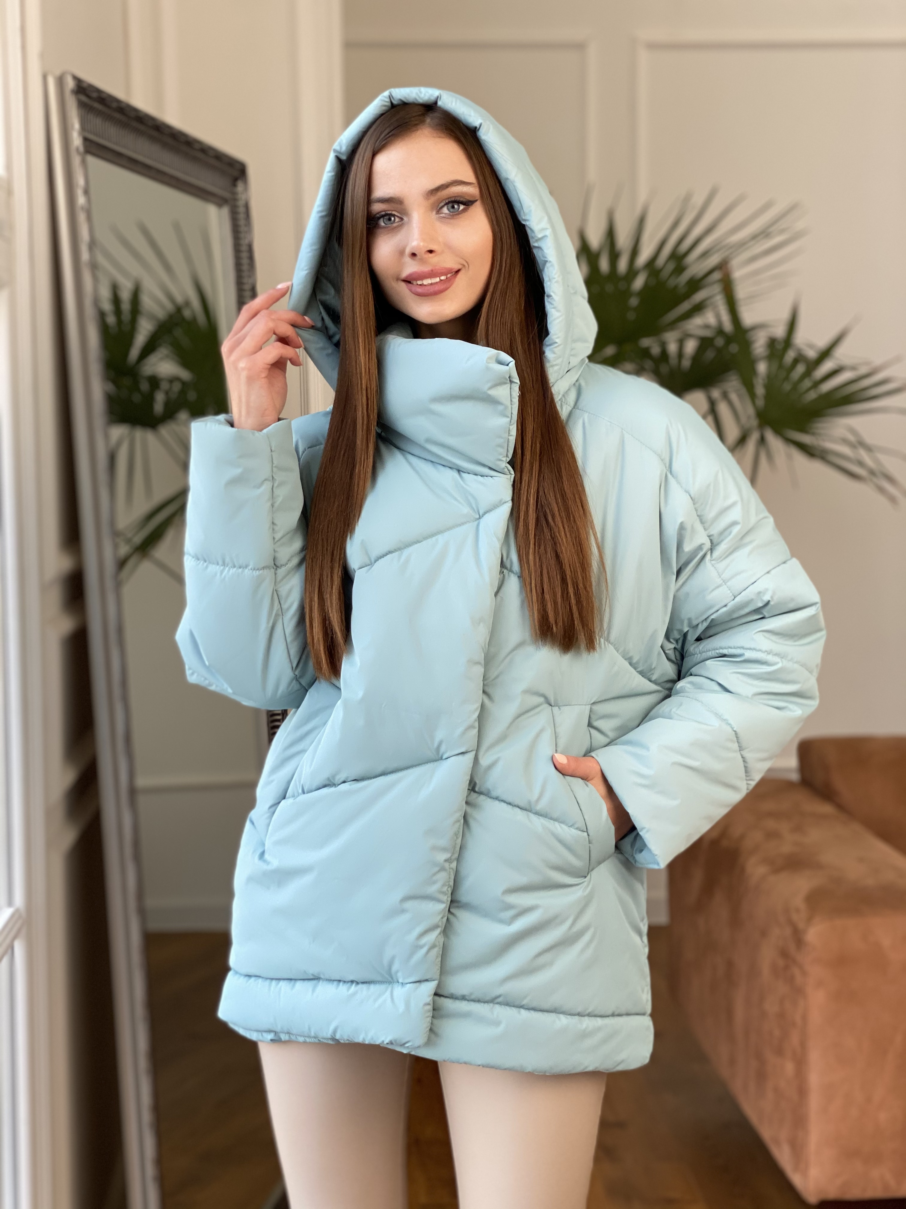 Уно куртка плащевка Ammy 10671 АРТ. 47079 Цвет: Олива - фото 4, интернет магазин tm-modus.ru