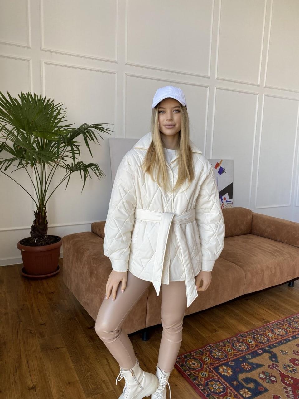 Монокуртка из плащевой ткани Ammy 10972 АРТ. 47632 Цвет: Молоко 1 - фото 3, интернет магазин tm-modus.ru