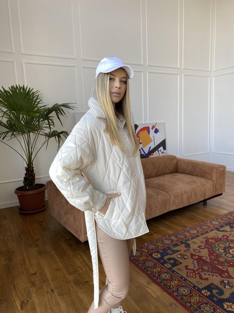 Монокуртка из плащевой ткани Ammy 10972 АРТ. 47632 Цвет: Молоко 1 - фото 4, интернет магазин tm-modus.ru
