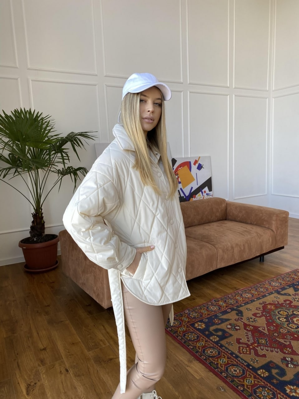 Монокуртка из плащевой ткани Ammy 10972 АРТ. 47632 Цвет: Молоко 1 - фото 5, интернет магазин tm-modus.ru