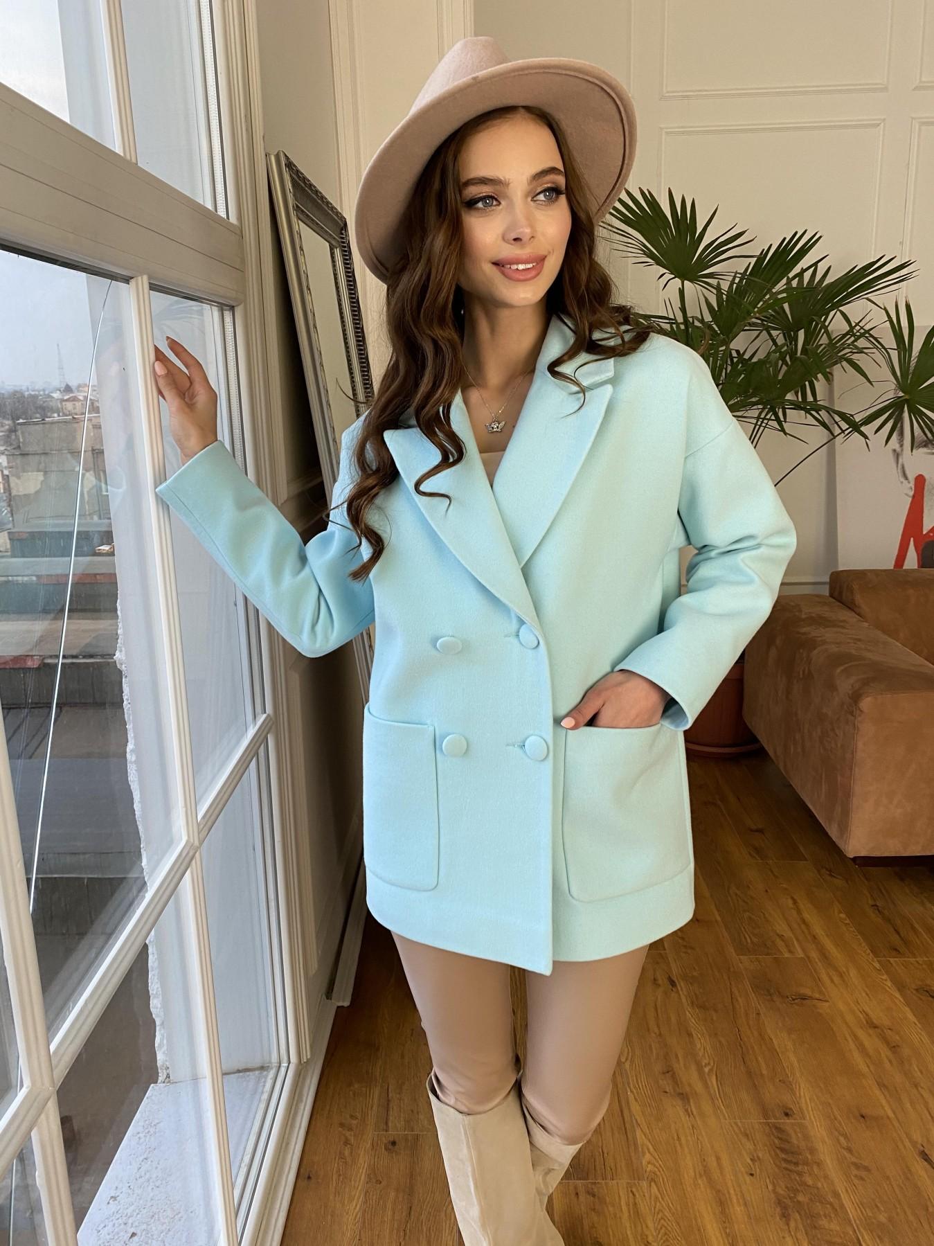 Мансера пальто  из гладкого кашемира 10898 АРТ. 47585 Цвет: Мята 6 - фото 3, интернет магазин tm-modus.ru