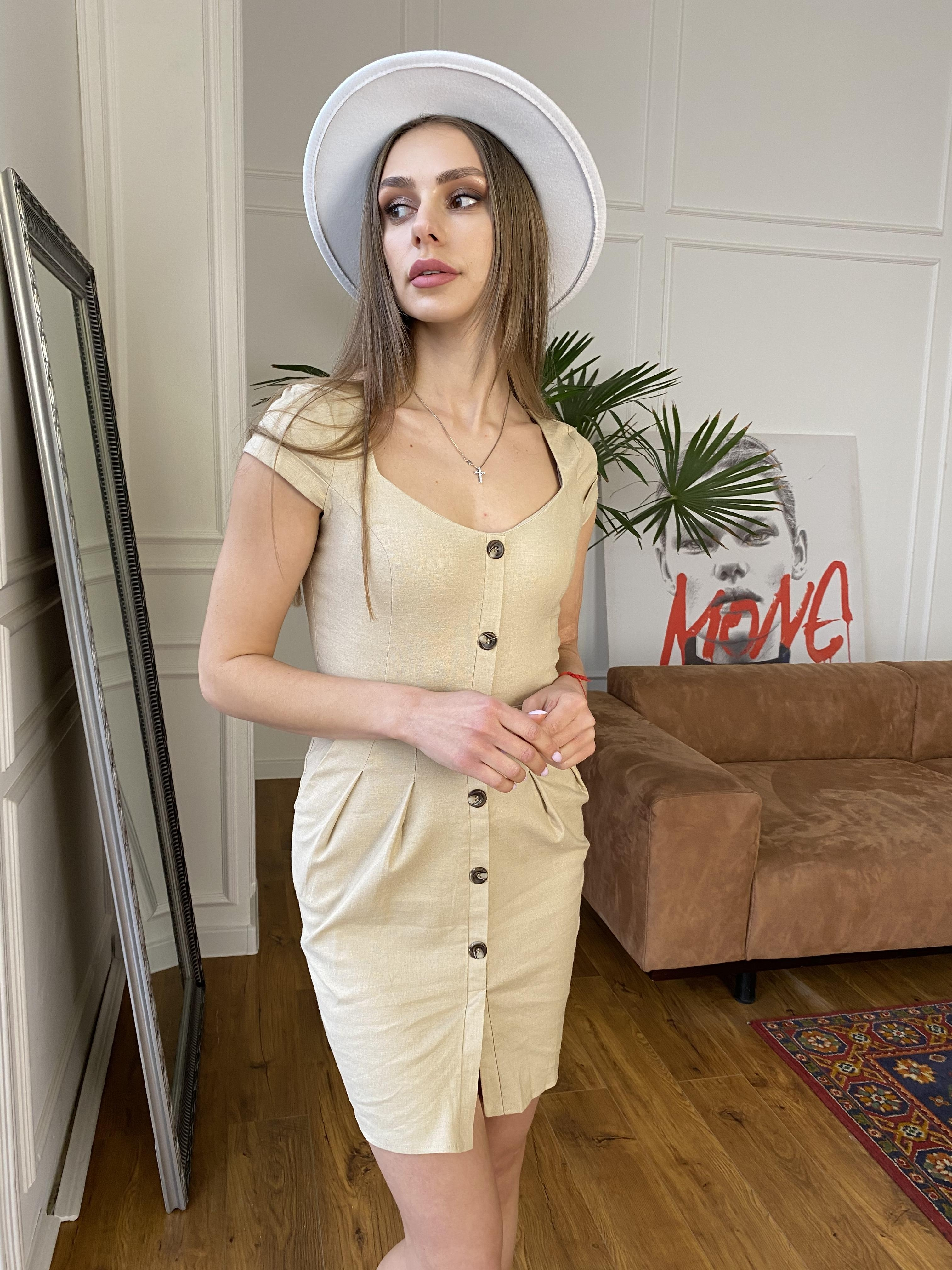 Марсель платье мини из льна  стрейч 9400 АРТ. 45754 Цвет: Бежевый - фото 4, интернет магазин tm-modus.ru