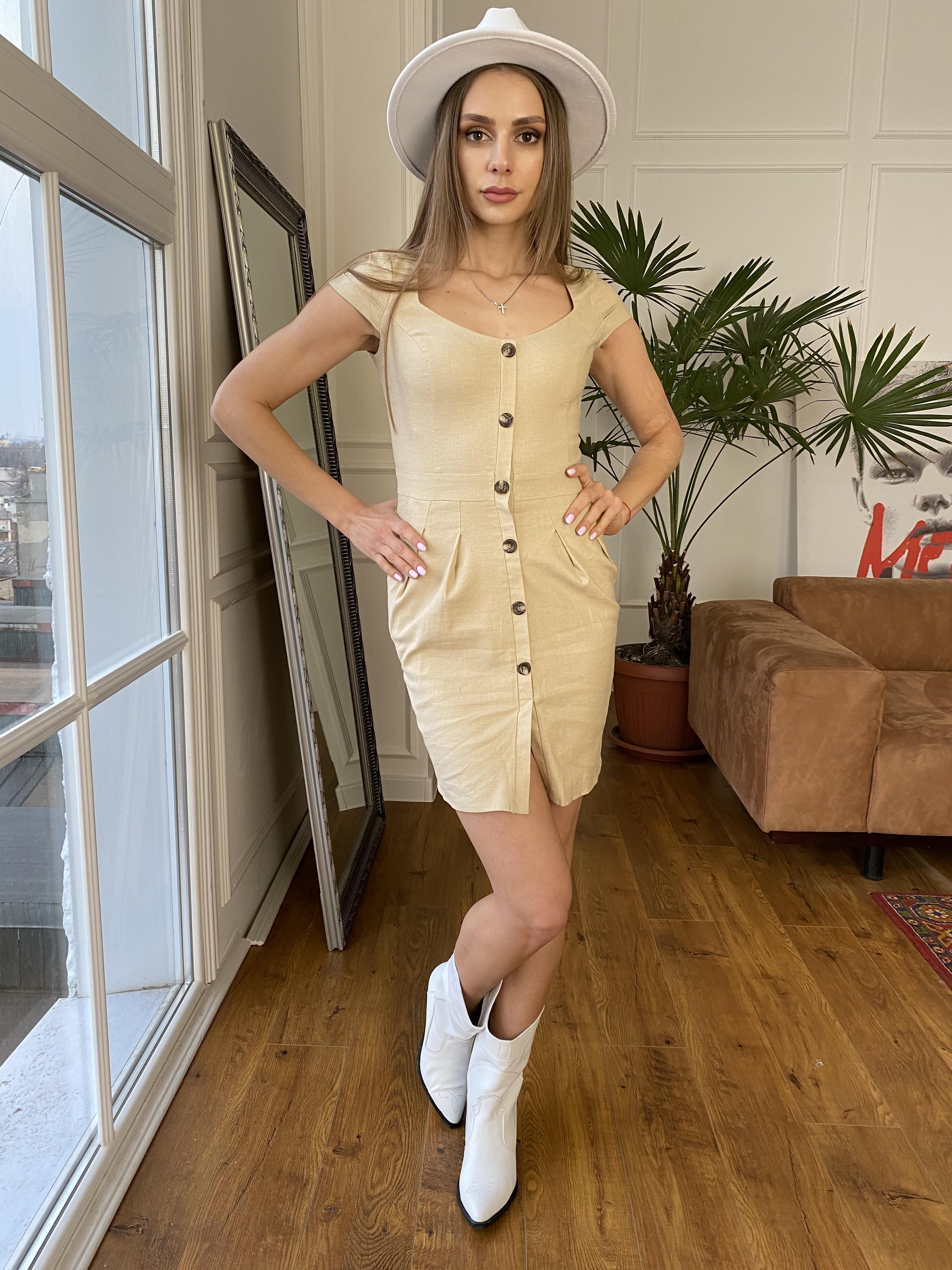 Марсель платье мини из льна  стрейч 9400 АРТ. 45754 Цвет: Бежевый - фото 6, интернет магазин tm-modus.ru