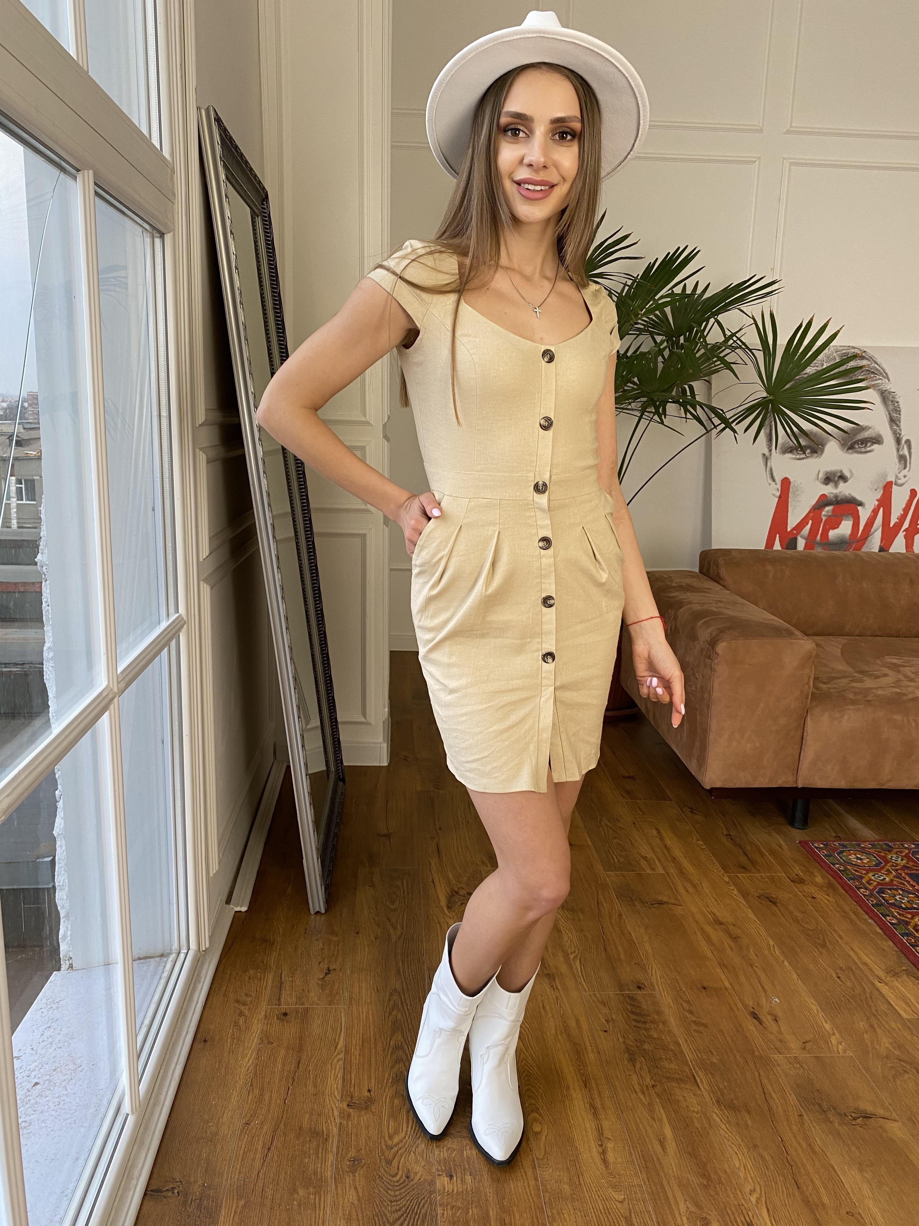 Марсель платье мини из льна  стрейч 9400 АРТ. 45754 Цвет: Бежевый - фото 10, интернет магазин tm-modus.ru