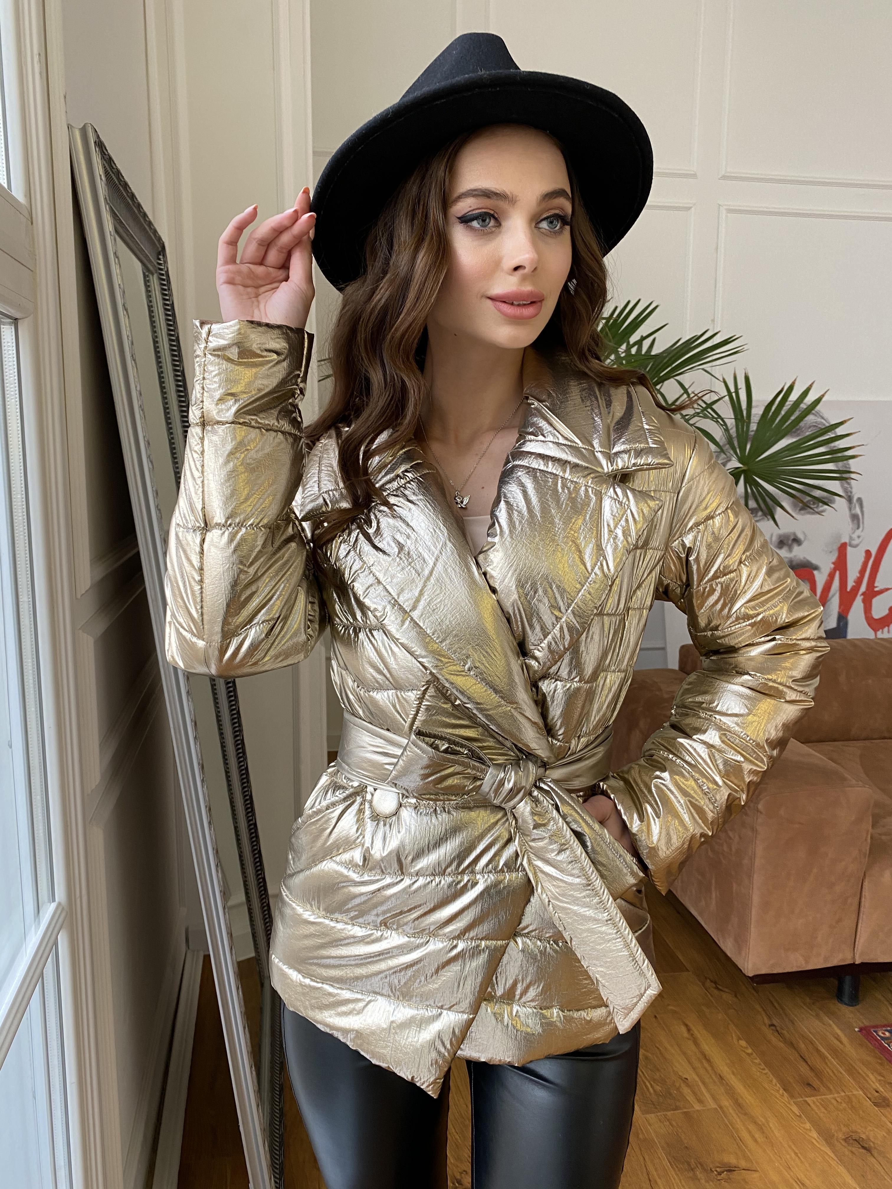 Мириам  4562 куртка горизонтальная стежка  АРТ. 21645 Цвет: Золото - фото 4, интернет магазин tm-modus.ru