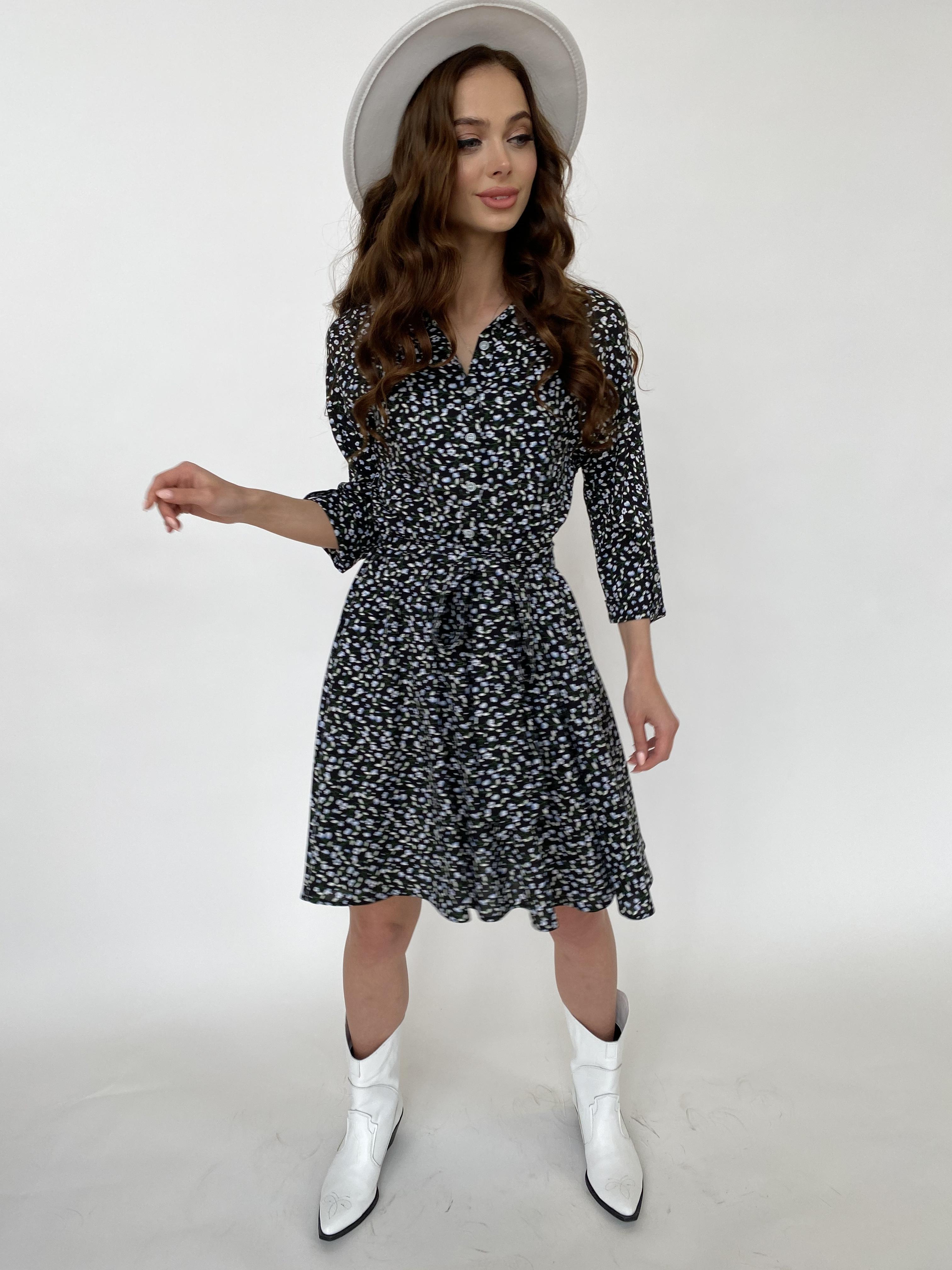 Санжар платье штапель принт 10940 АРТ. 47421 Цвет: Цветы мел черн/бел/гол - фото 2, интернет магазин tm-modus.ru