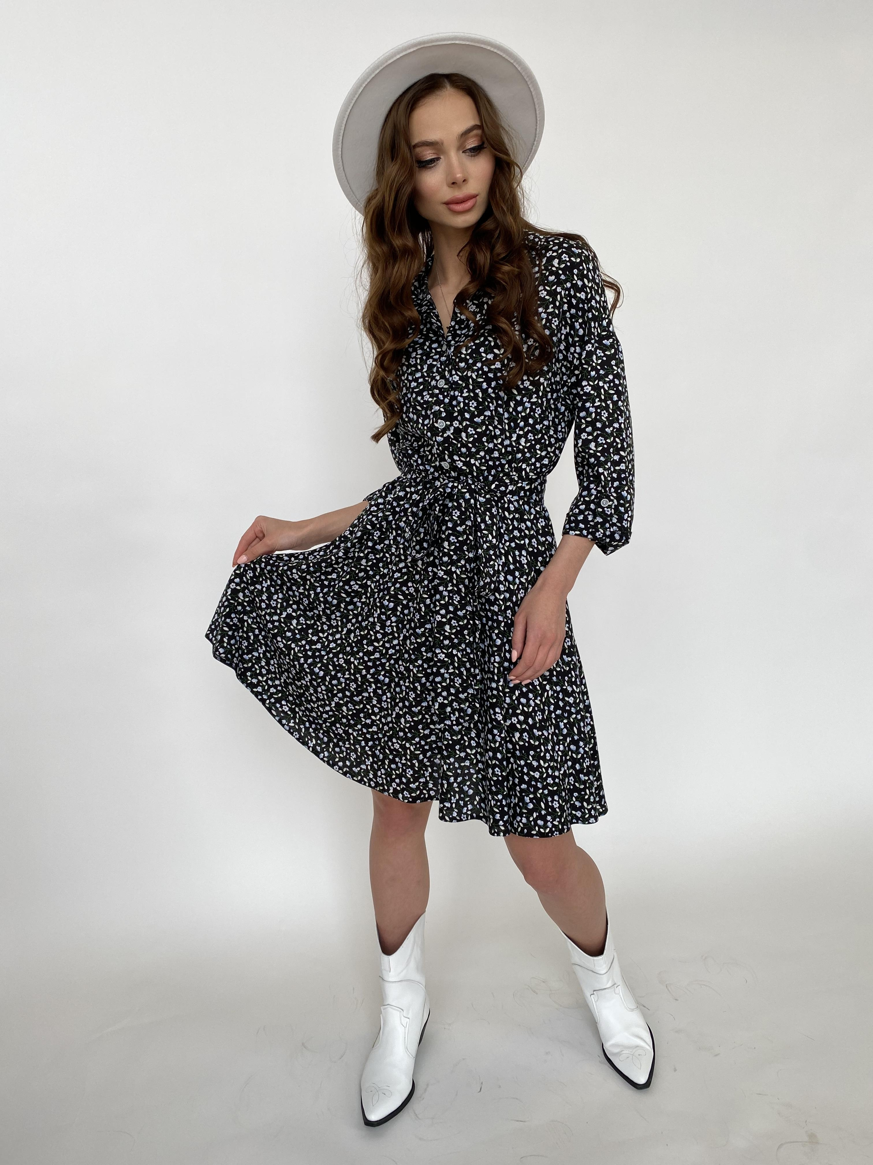 Санжар платье штапель принт 10940 АРТ. 47421 Цвет: Цветы мел черн/бел/гол - фото 5, интернет магазин tm-modus.ru