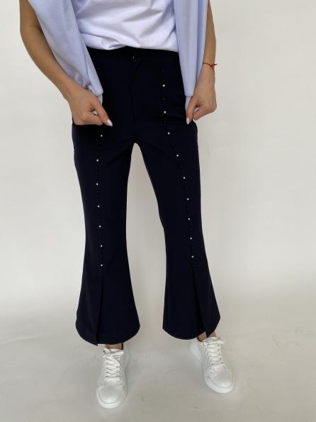 Сеймур  брюки укороченные из костюмной ткани 3288 Цвет: Тёмно-синий
