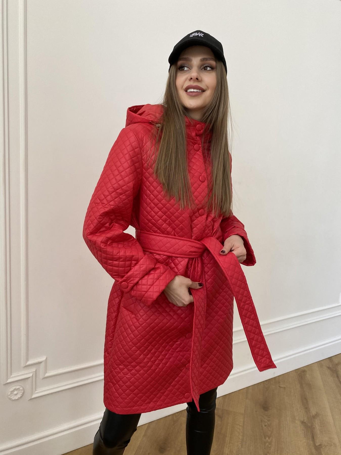 Виза стеганая куртка в мелкую стежку из плащевой ткани 11017 АРТ. 47626 Цвет: Красный - фото 2, интернет магазин tm-modus.ru