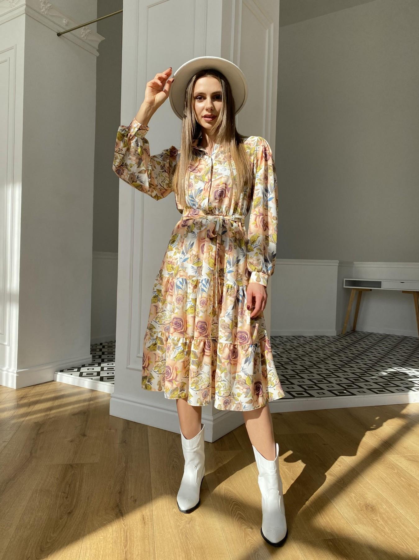 Лилия платье  софт принт бистрейч 11171 АРТ. 47666 Цвет: КрупРозаМолок/Персик - фото 1, интернет магазин tm-modus.ru