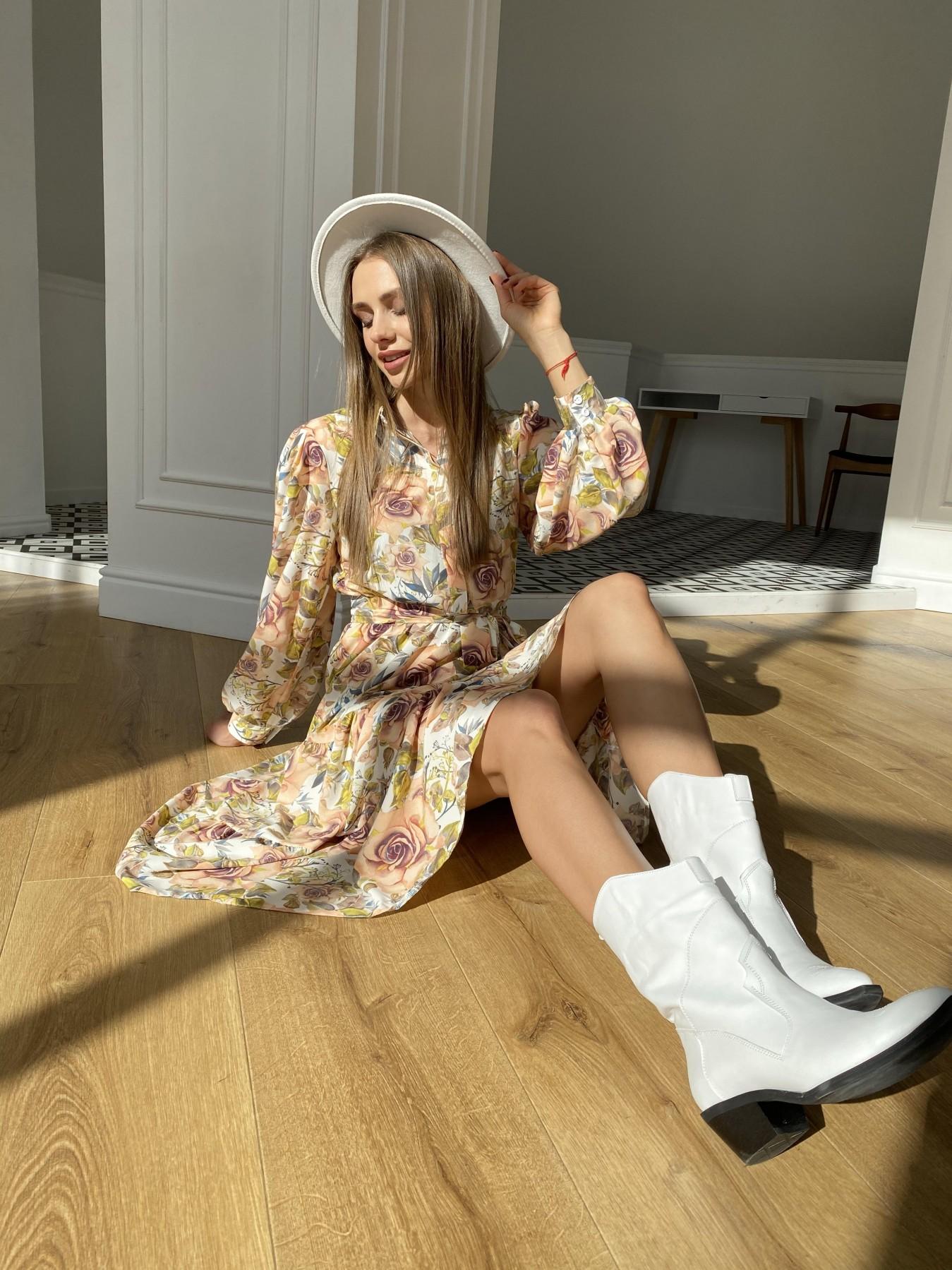 Лилия платье  софт принт бистрейч 11171 АРТ. 47666 Цвет: КрупРозаМолок/Персик - фото 2, интернет магазин tm-modus.ru
