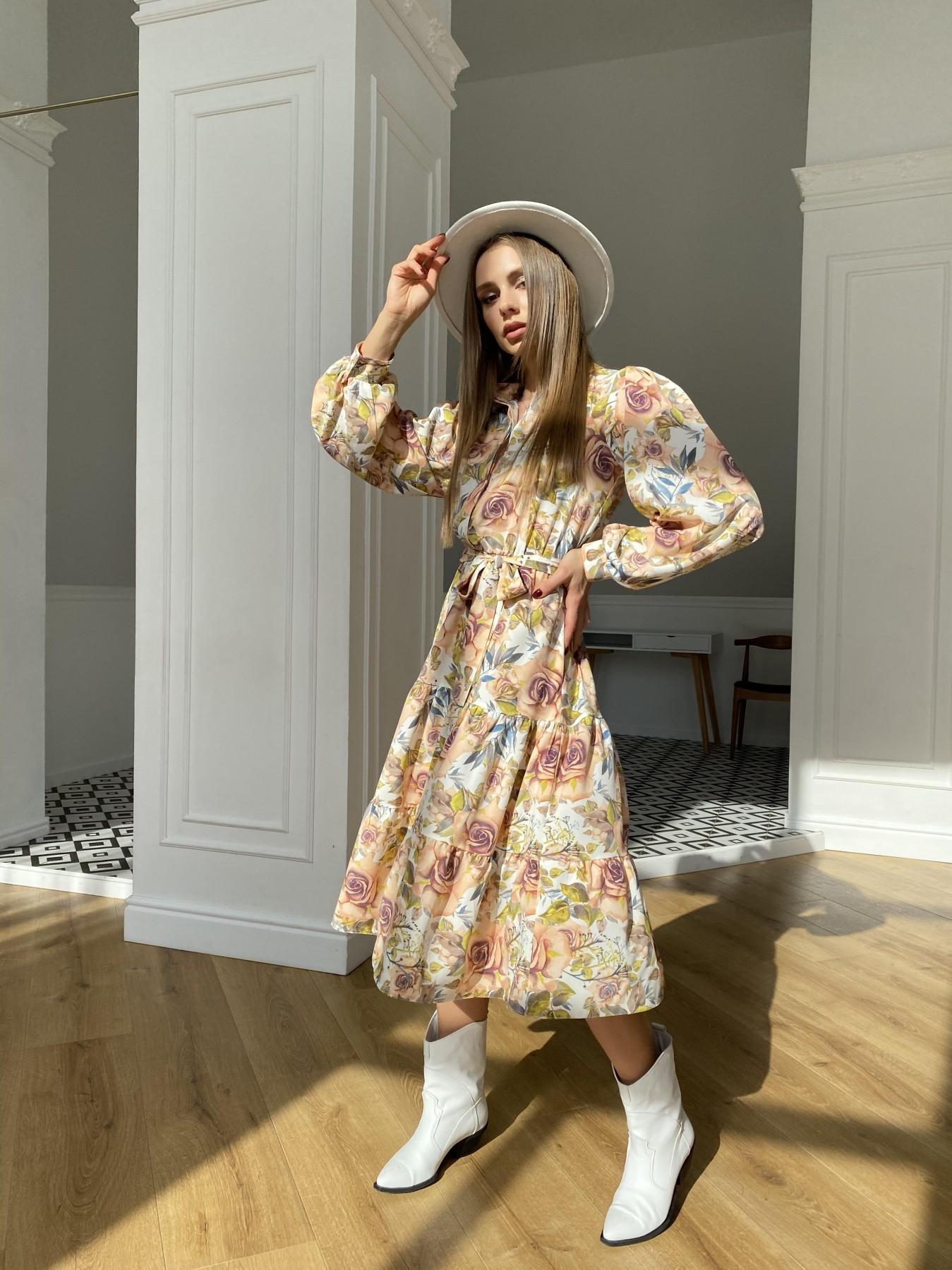 Лилия платье  софт принт бистрейч 11171 АРТ. 47666 Цвет: КрупРозаМолок/Персик - фото 4, интернет магазин tm-modus.ru