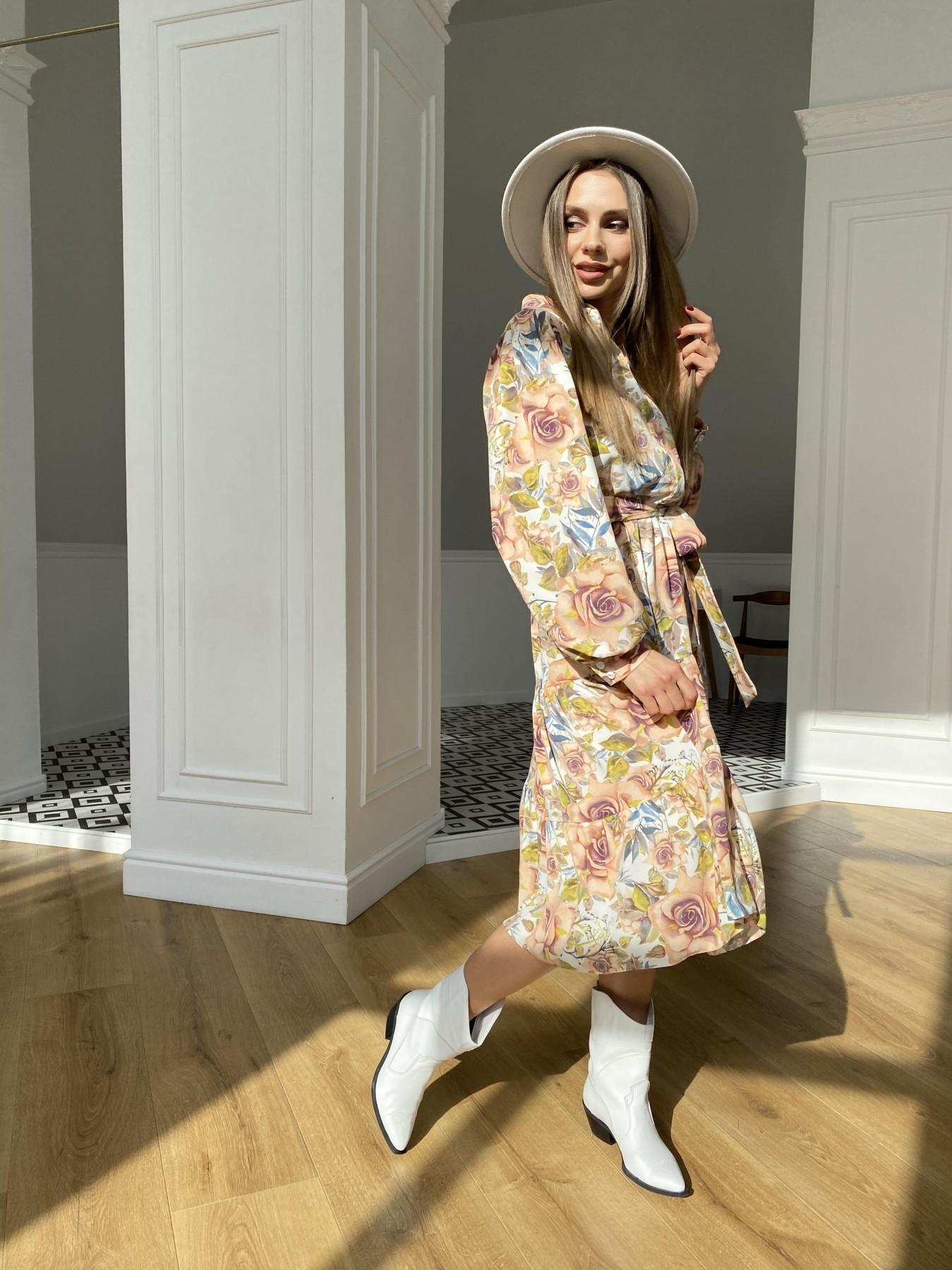 Лилия платье  софт принт бистрейч 11171 АРТ. 47666 Цвет: КрупРозаМолок/Персик - фото 5, интернет магазин tm-modus.ru