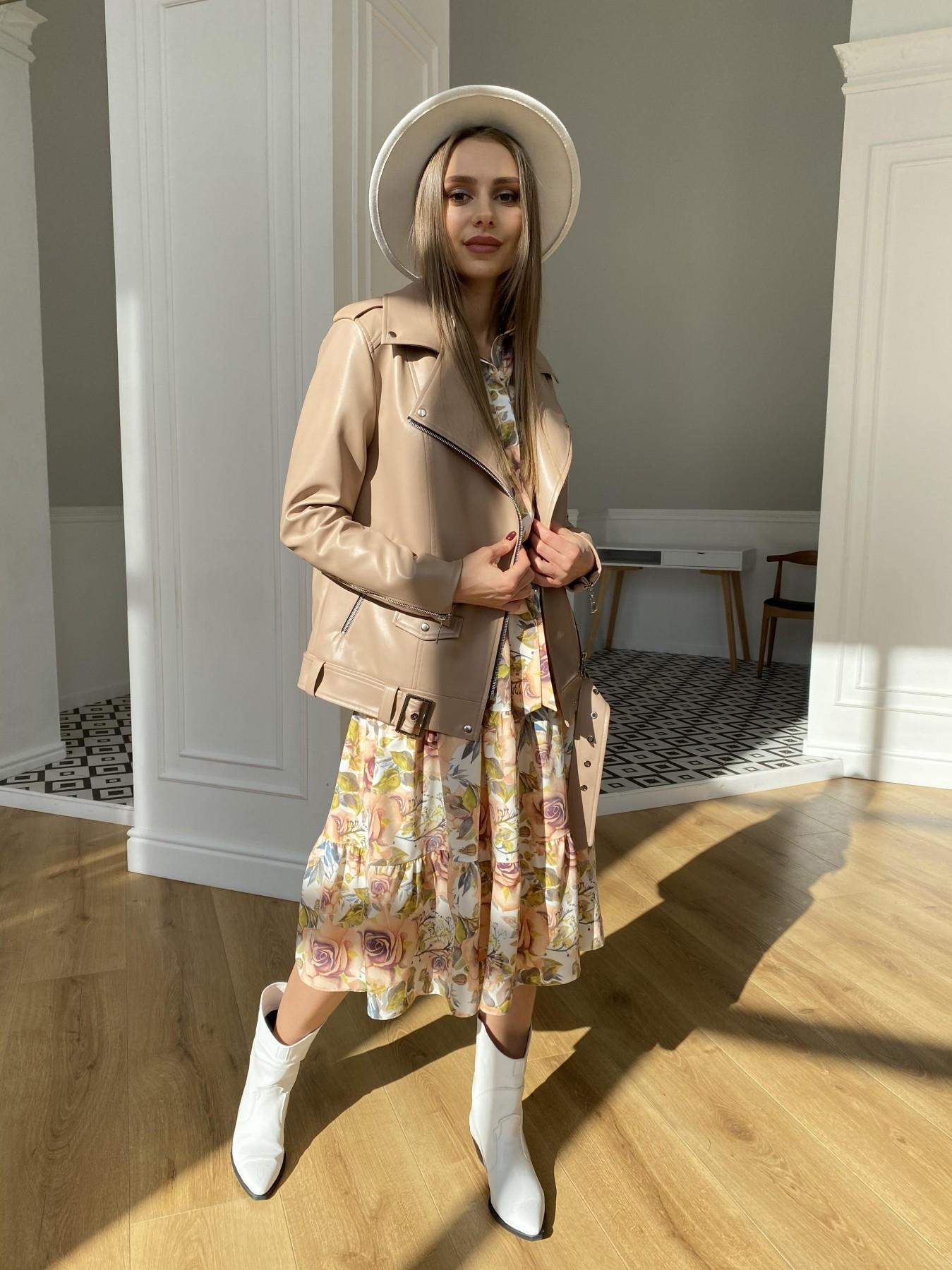 Лилия платье  софт принт бистрейч 11171 АРТ. 47666 Цвет: КрупРозаМолок/Персик - фото 6, интернет магазин tm-modus.ru