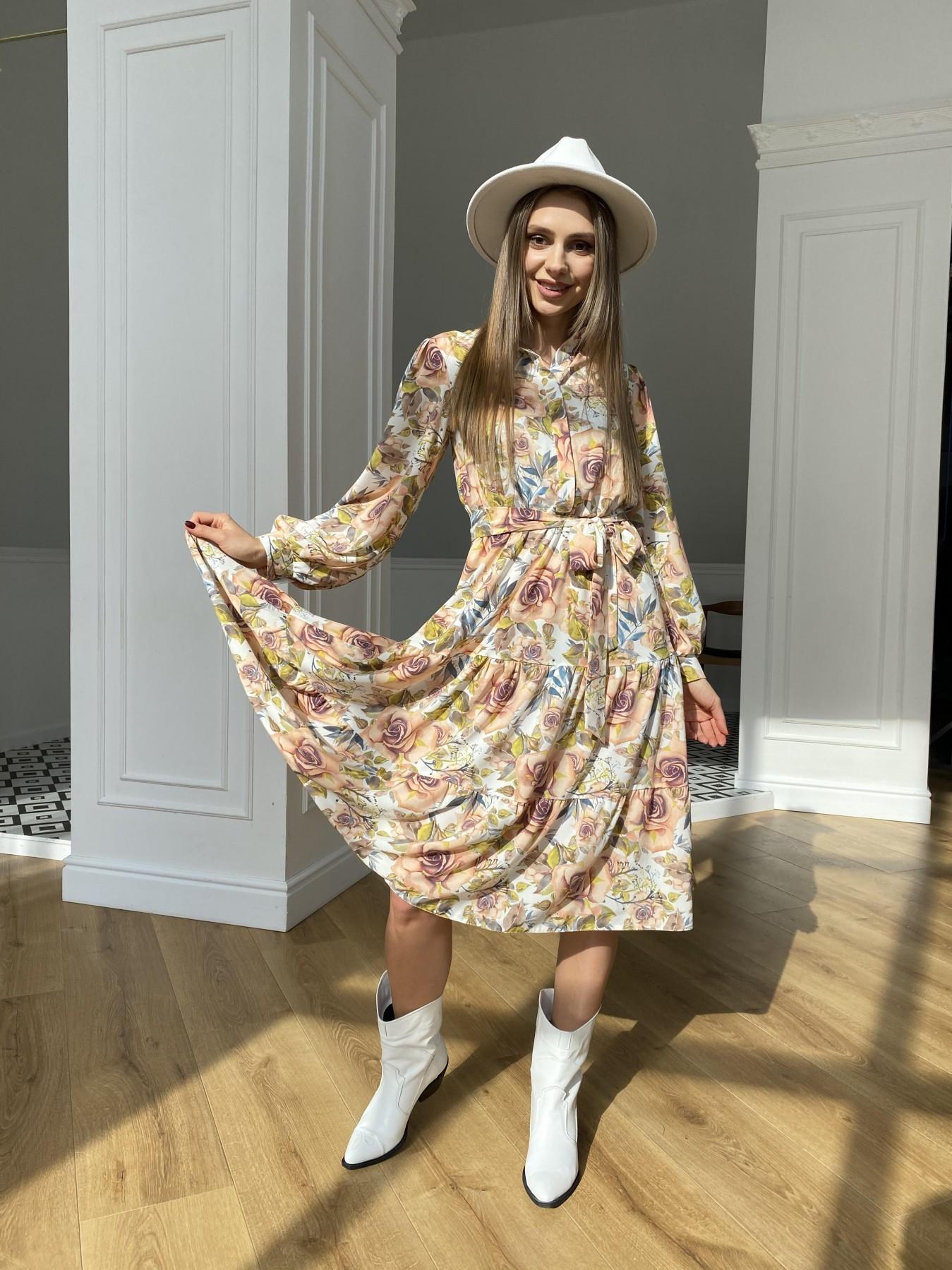 Лилия платье  софт принт бистрейч 11171 АРТ. 47666 Цвет: КрупРозаМолок/Персик - фото 8, интернет магазин tm-modus.ru