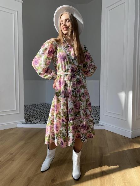 Купить Лилия софт принт бистрейч платье 11171 оптом и в розницу
