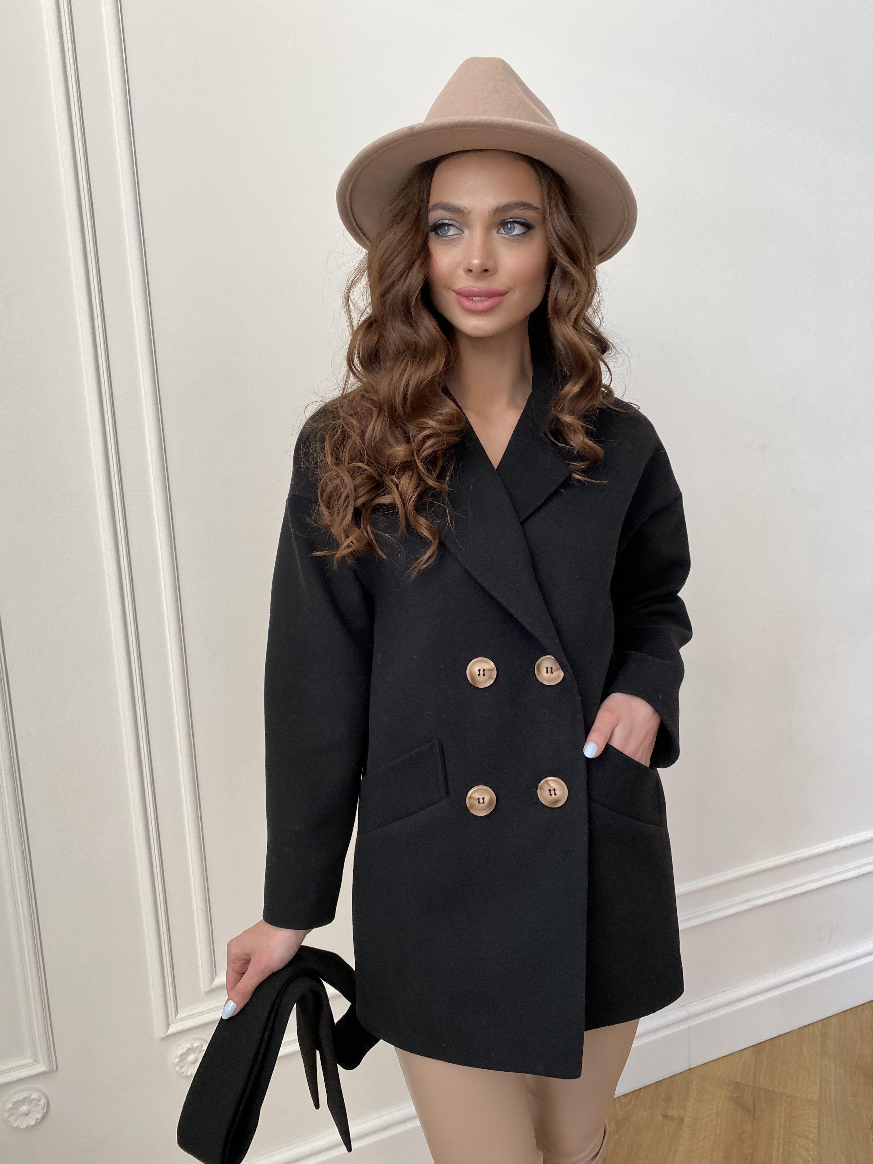 Бонд пальто из гладкого кашемира 10900 АРТ. 47367 Цвет: Черный - фото 1, интернет магазин tm-modus.ru