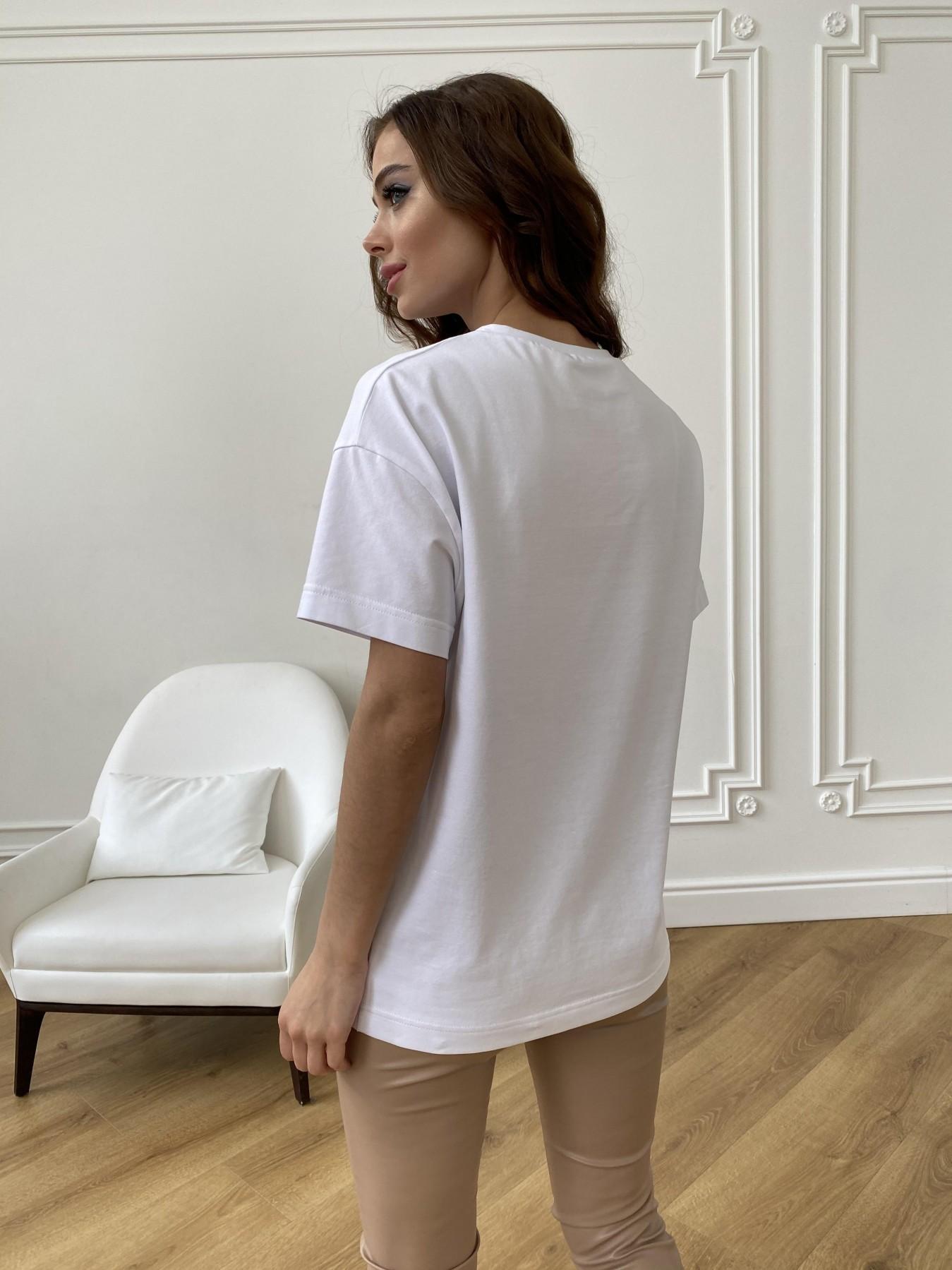 Лове футболка из вискозы однотонная хлопок 11176 АРТ. 47664 Цвет: Белый - фото 9, интернет магазин tm-modus.ru