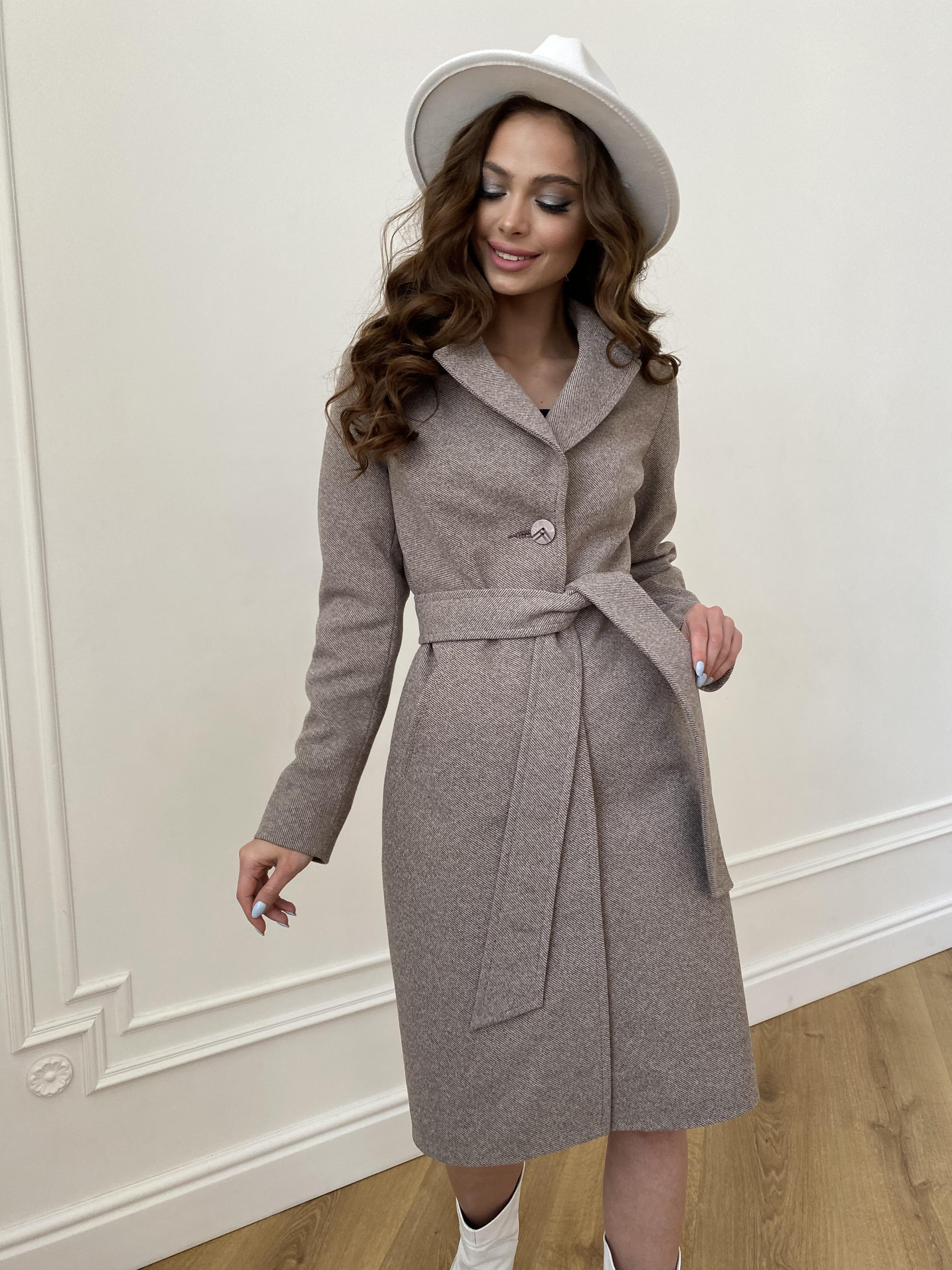 Камила  пальто из кашемира зима 8487 АРТ. 46457 Цвет: Шоколадный меланж 5 - фото 2, интернет магазин tm-modus.ru