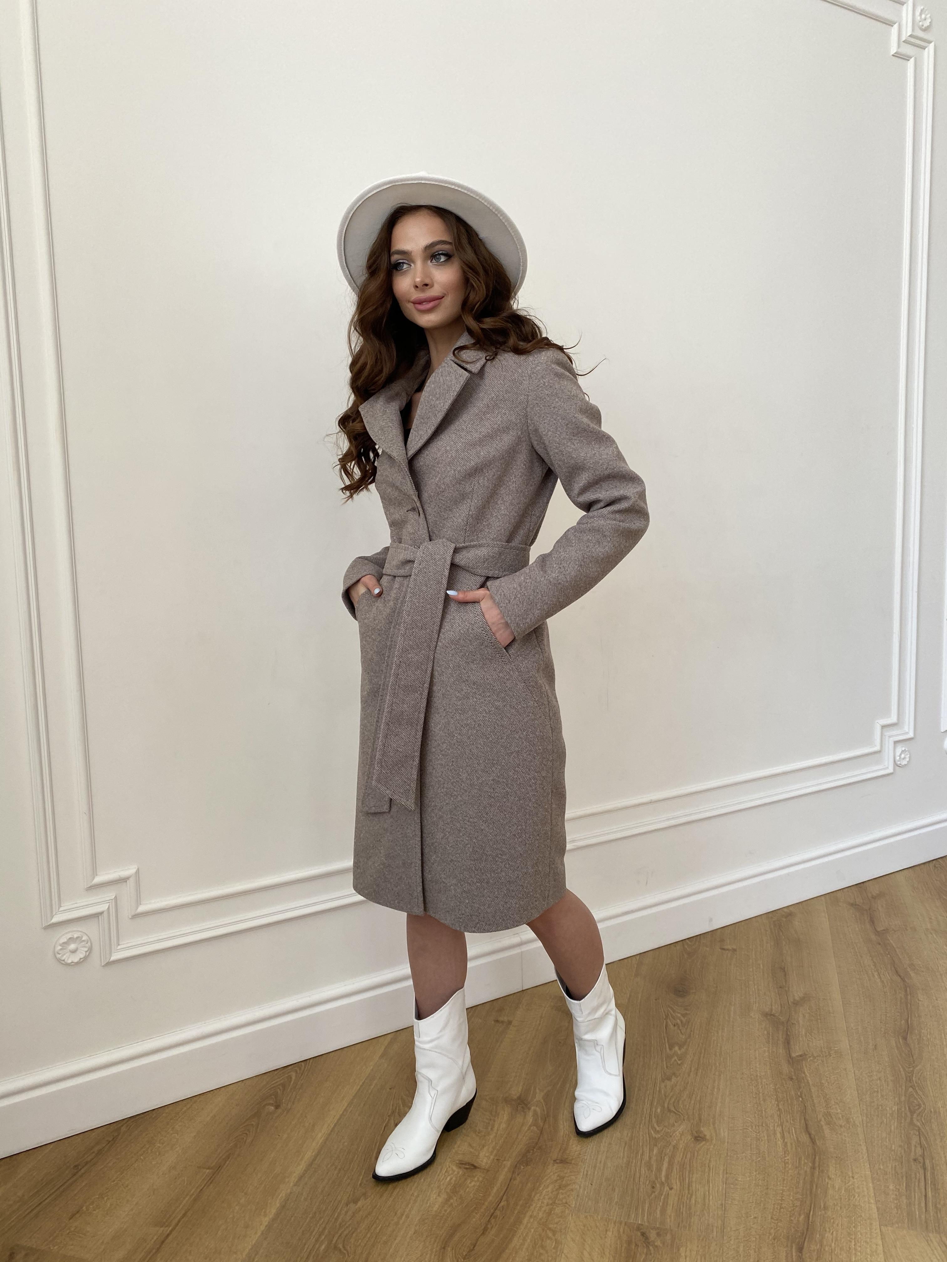 Камила  пальто из кашемира зима 8487 АРТ. 46457 Цвет: Шоколадный меланж 5 - фото 3, интернет магазин tm-modus.ru