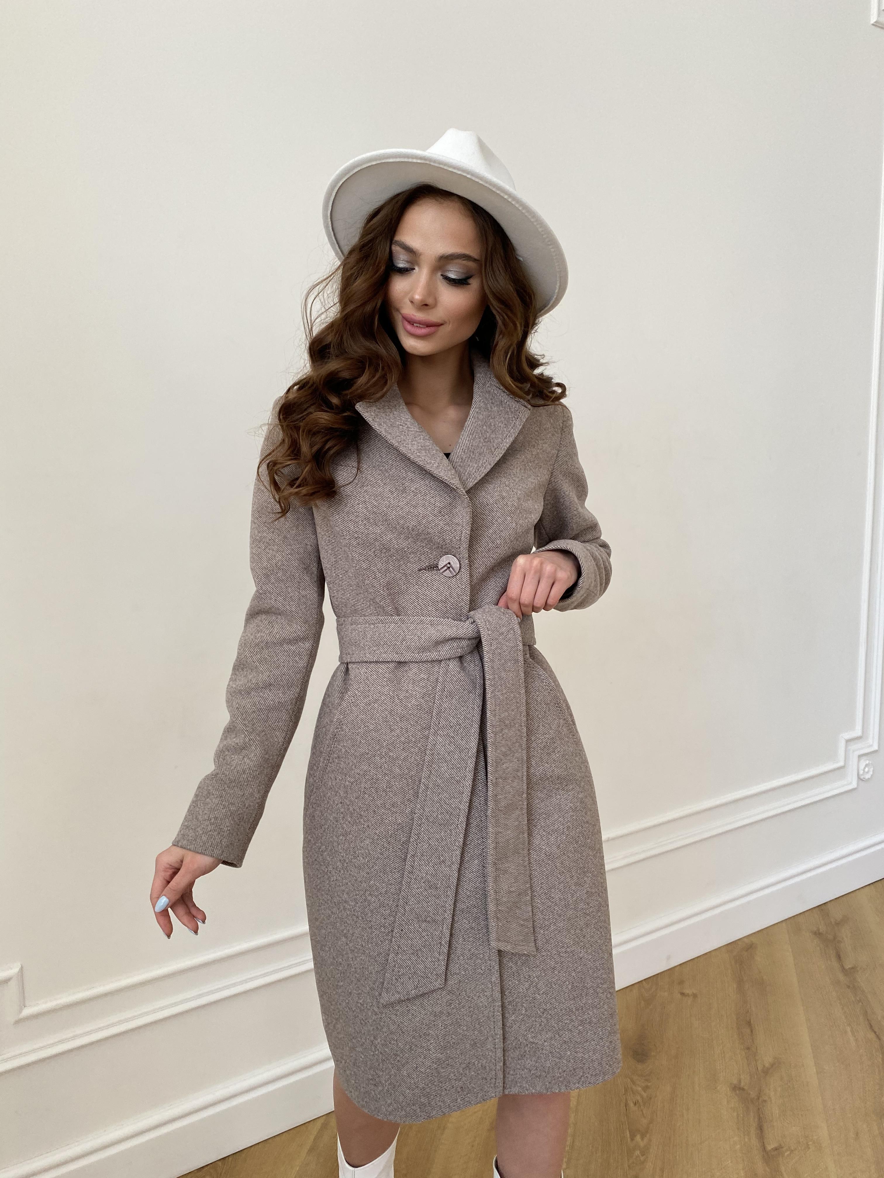 Камила  пальто из кашемира зима 8487 АРТ. 46457 Цвет: Шоколадный меланж 5 - фото 4, интернет магазин tm-modus.ru