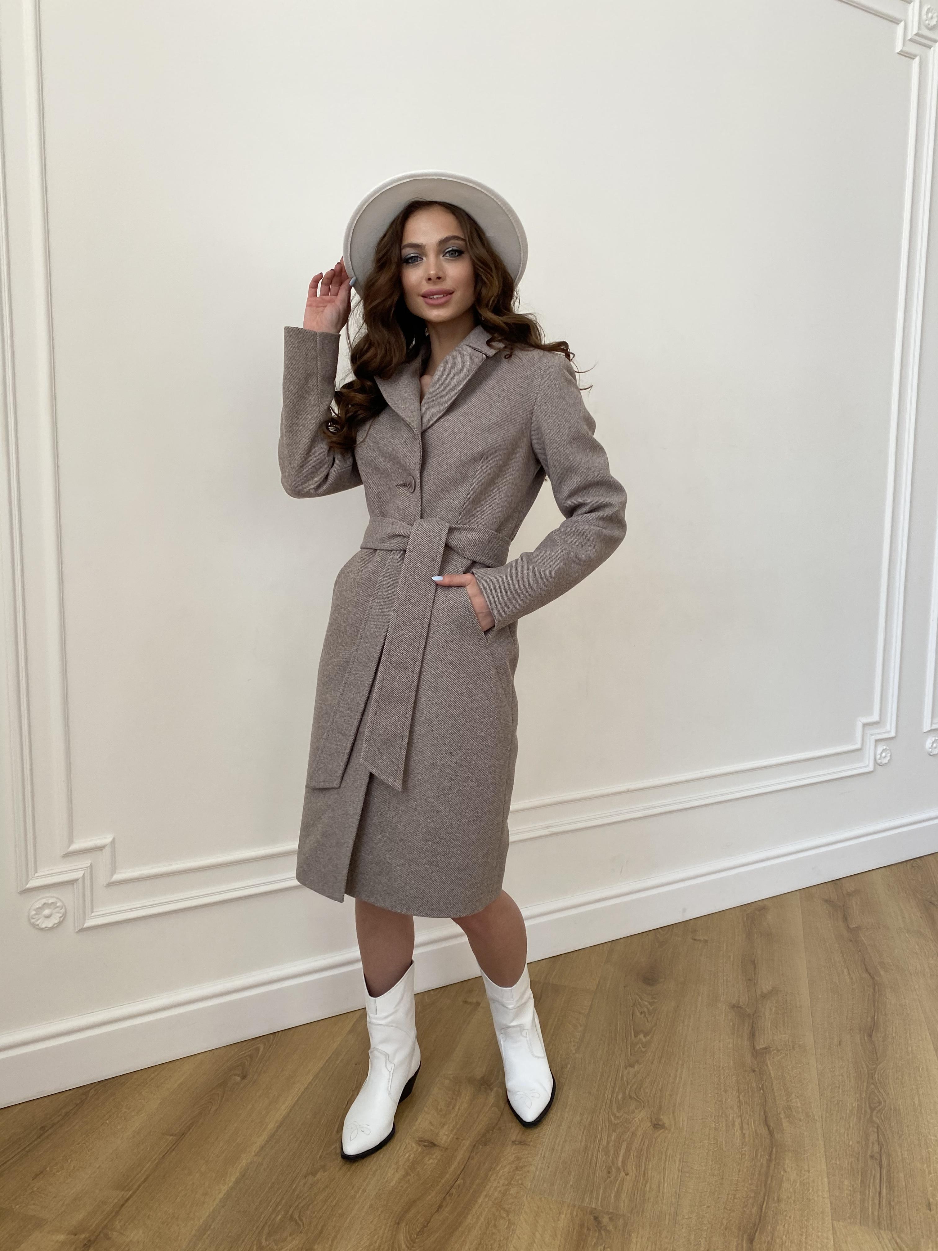 Камила  пальто из кашемира зима 8487 АРТ. 46457 Цвет: Шоколадный меланж 5 - фото 6, интернет магазин tm-modus.ru