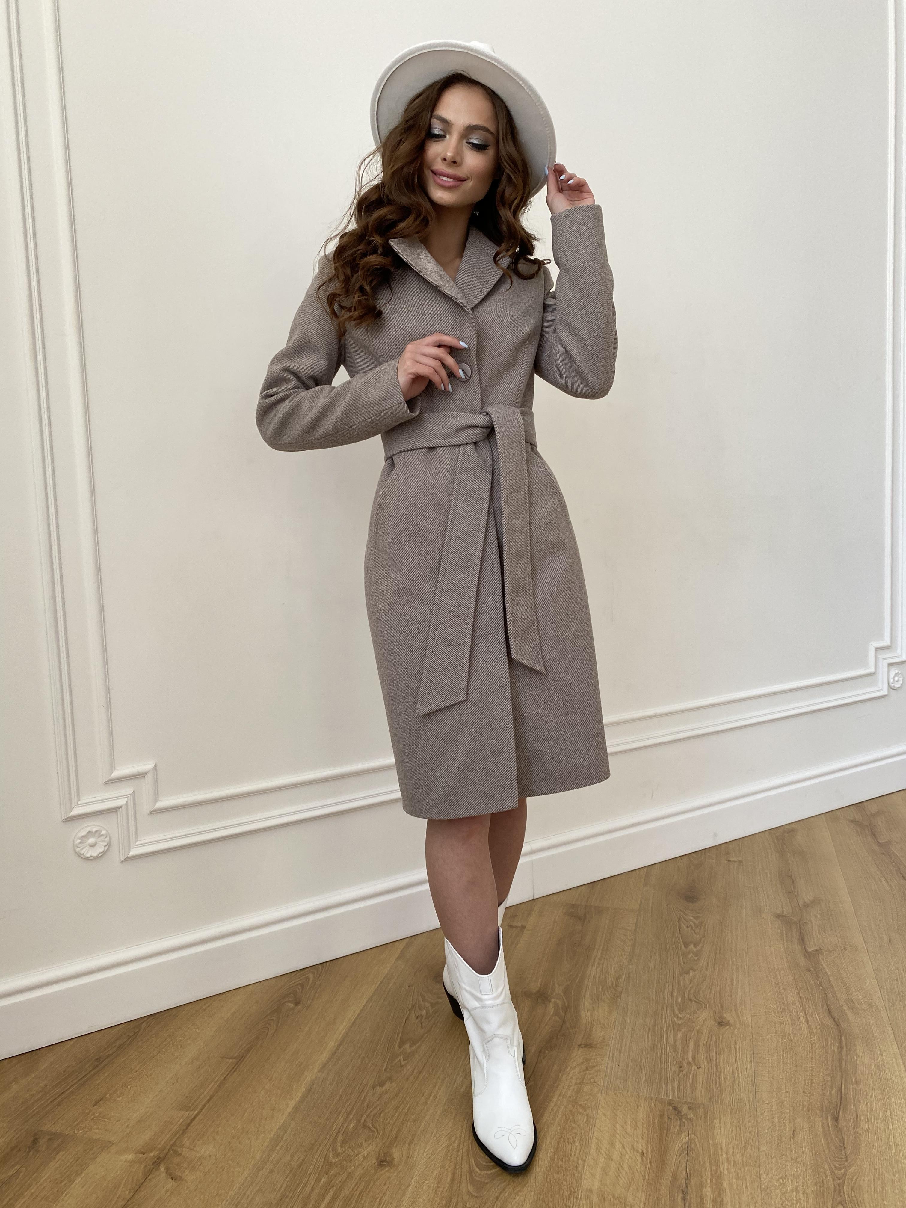 Камила  пальто из кашемира зима 8487 АРТ. 46457 Цвет: Шоколадный меланж 5 - фото 7, интернет магазин tm-modus.ru