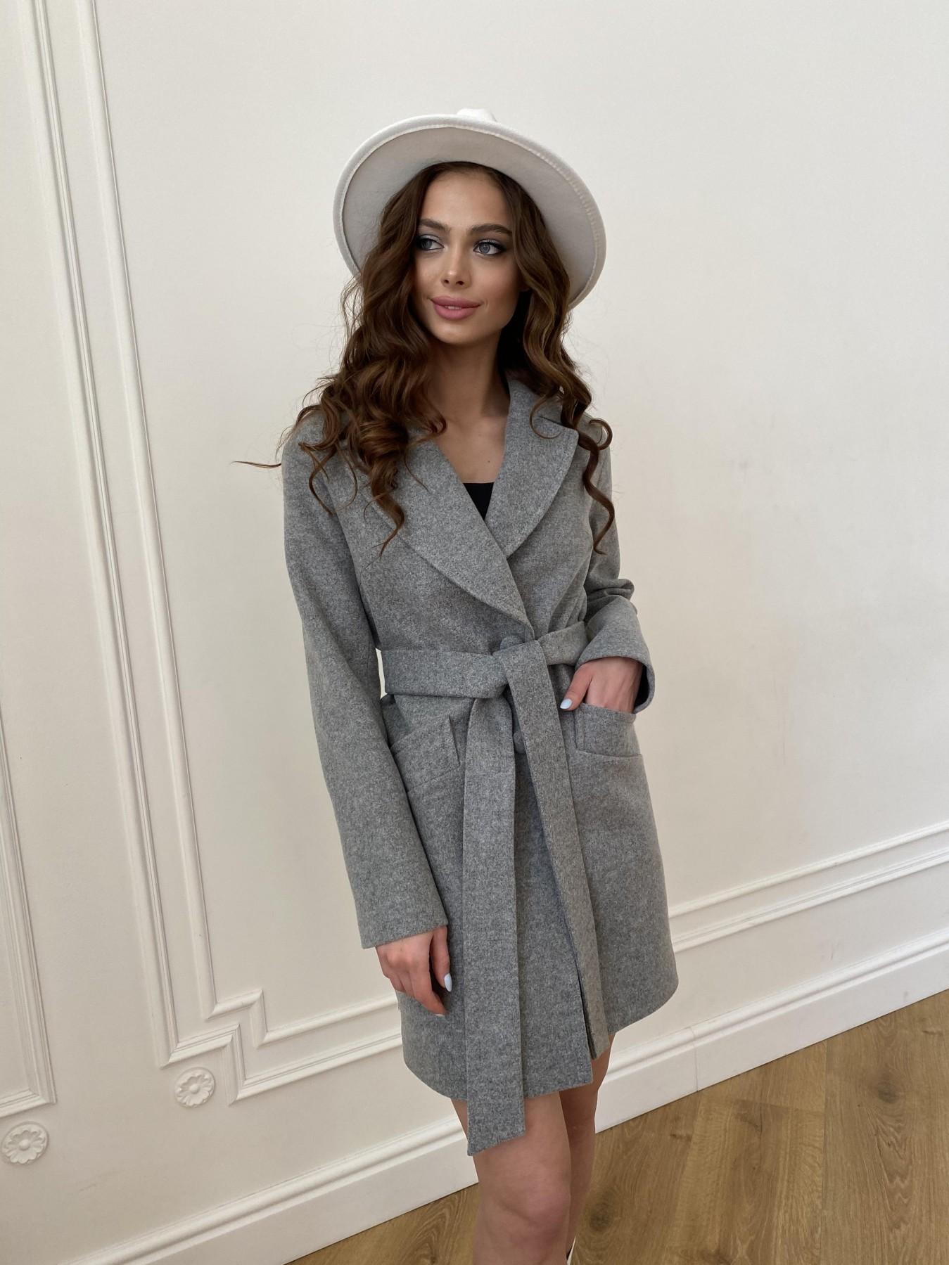 Вейсона пальто из кашемира меланж на трикотаже  10743 АРТ. 47596 Цвет: Серый 1 - фото 1, интернет магазин tm-modus.ru