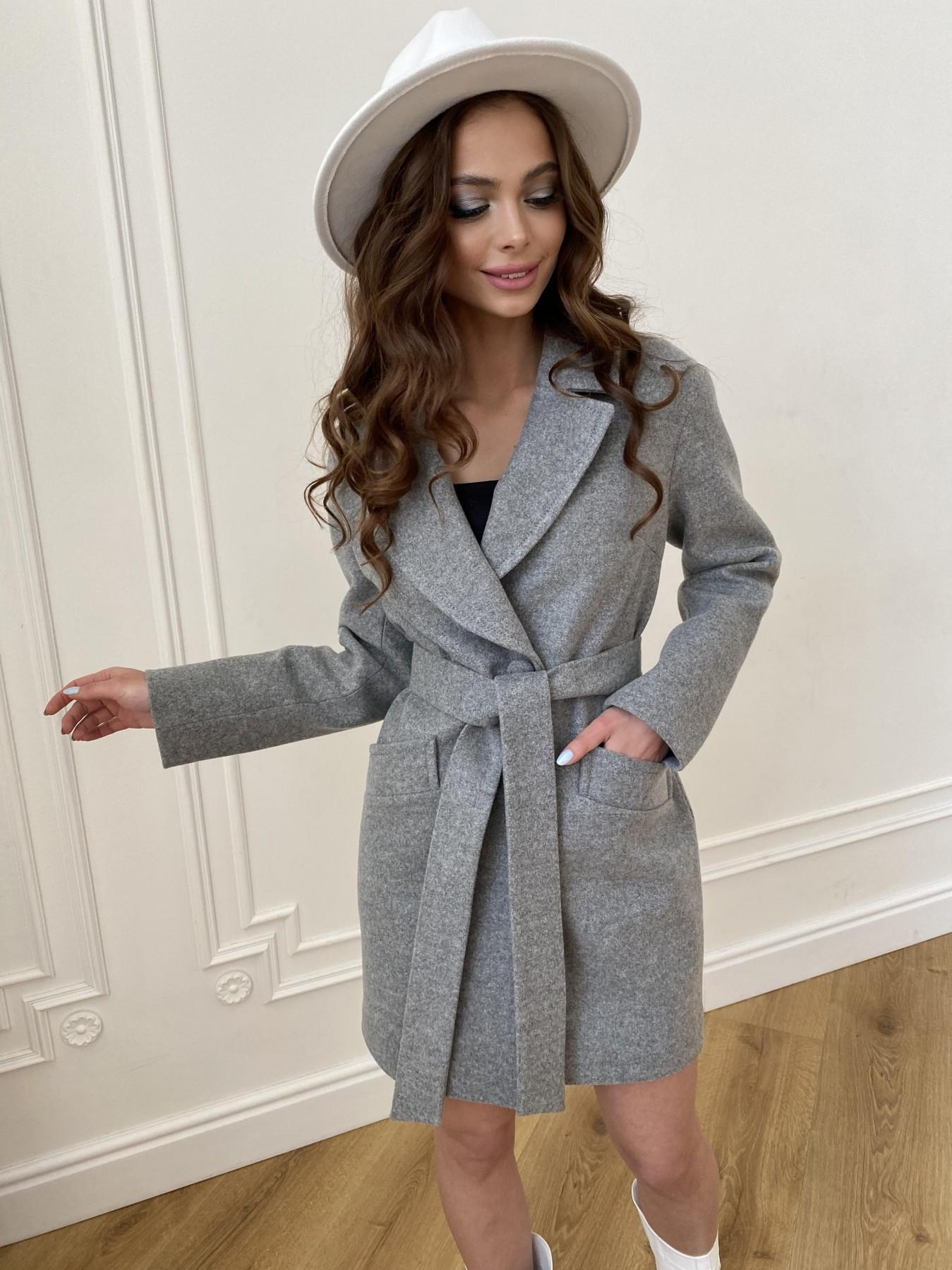 Вейсона пальто из кашемира меланж на трикотаже  10743 АРТ. 47596 Цвет: Серый 1 - фото 2, интернет магазин tm-modus.ru