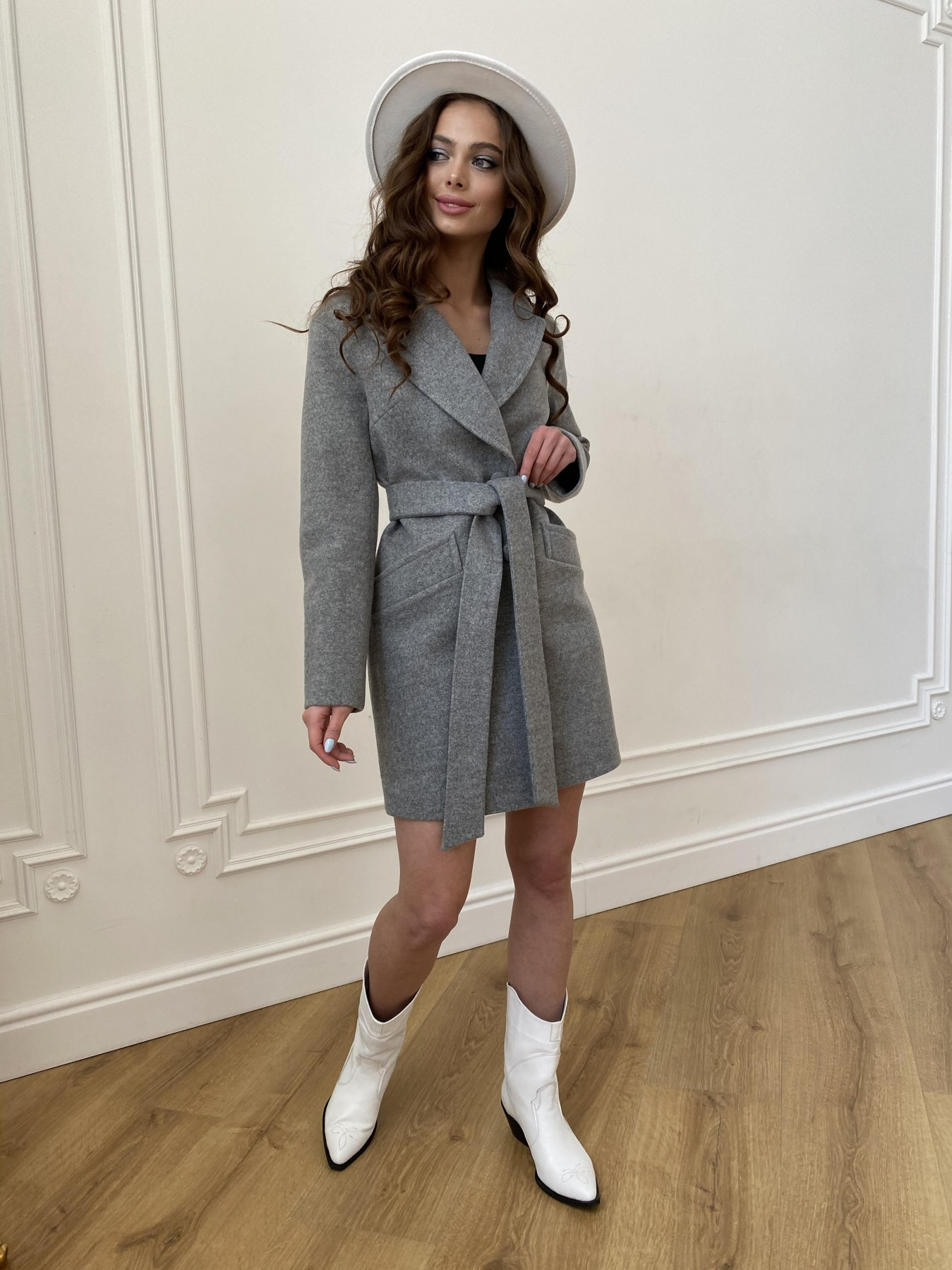 Вейсона пальто из кашемира меланж на трикотаже  10743 АРТ. 47596 Цвет: Серый 1 - фото 3, интернет магазин tm-modus.ru