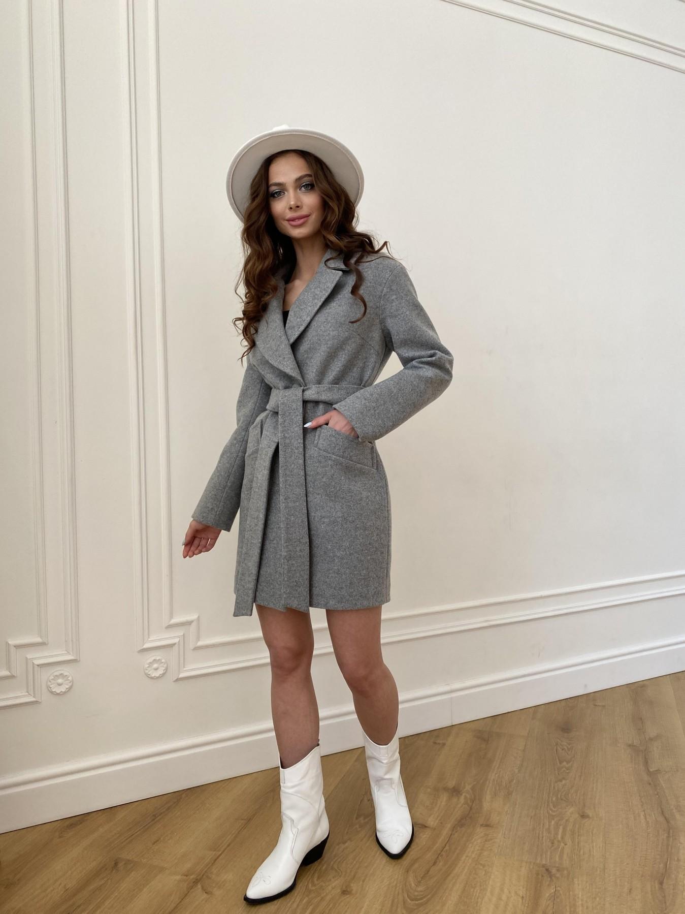 Вейсона пальто из кашемира меланж на трикотаже  10743 АРТ. 47596 Цвет: Серый 1 - фото 4, интернет магазин tm-modus.ru