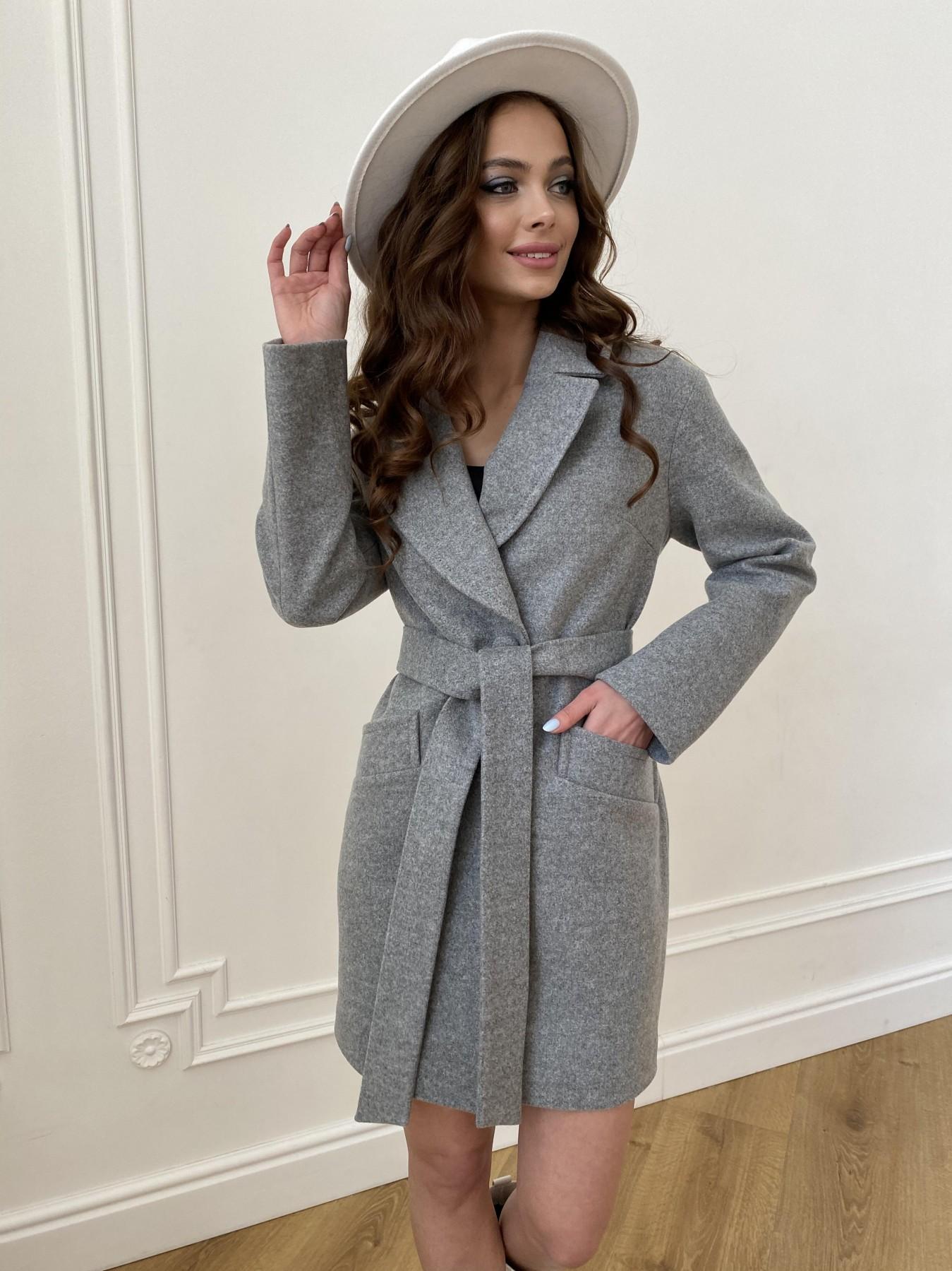 Вейсона пальто из кашемира меланж на трикотаже  10743 АРТ. 47596 Цвет: Серый 1 - фото 5, интернет магазин tm-modus.ru