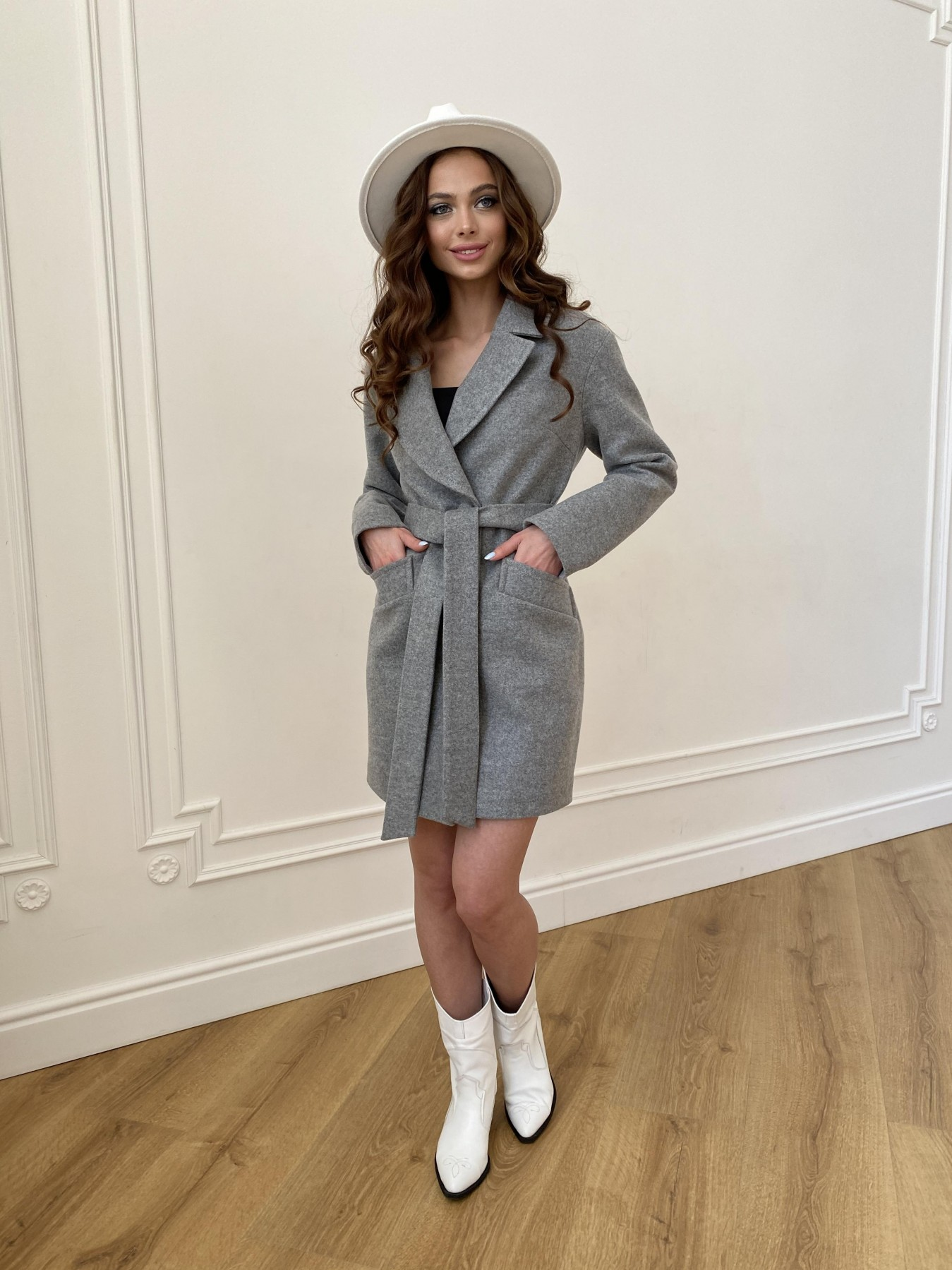 Вейсона пальто из кашемира меланж на трикотаже  10743 АРТ. 47596 Цвет: Серый 1 - фото 7, интернет магазин tm-modus.ru