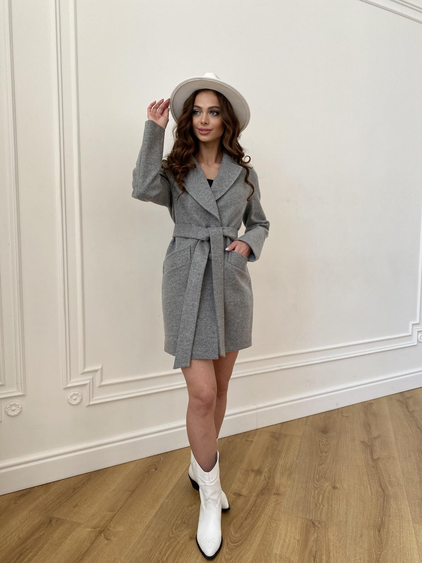 Вейсона пальто из кашемира меланж на трикотаже  10743 АРТ. 47596 Цвет: Серый 1 - фото 11, интернет магазин tm-modus.ru