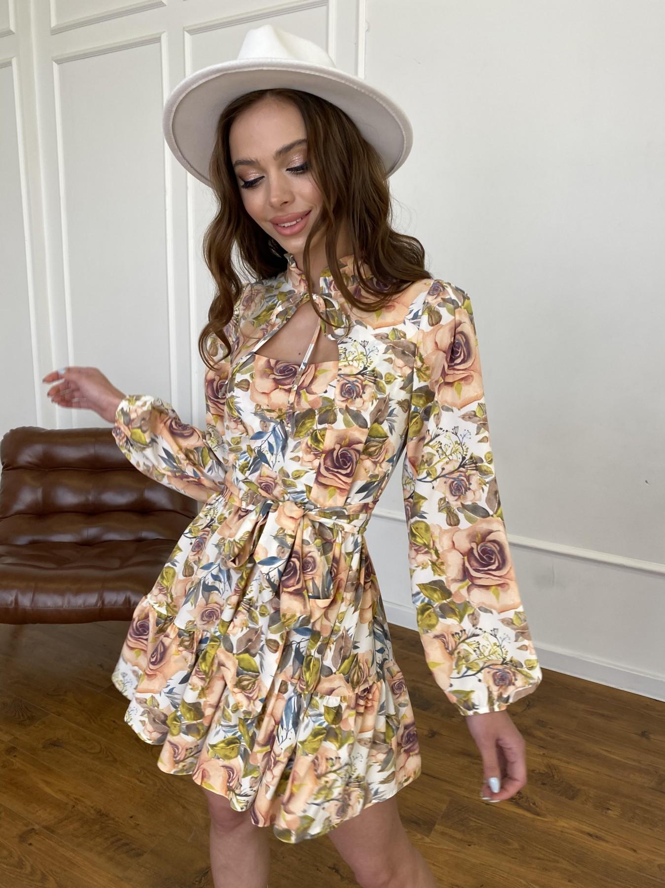 Марселла платье  софт принт бистрейч 11200 АРТ. 47710 Цвет: Кр.розы/молоко/персик - фото 2, интернет магазин tm-modus.ru