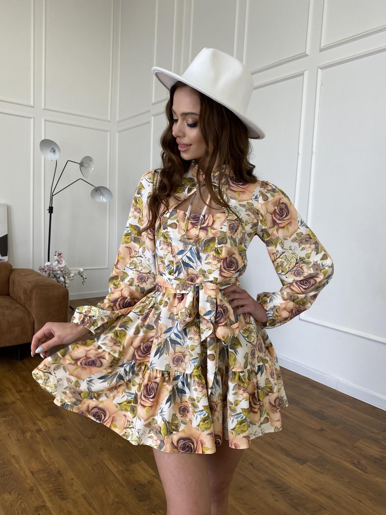 Марселла платье  софт принт бистрейч 11200 АРТ. 47710 Цвет: Кр.розы/молоко/персик - фото 6, интернет магазин tm-modus.ru