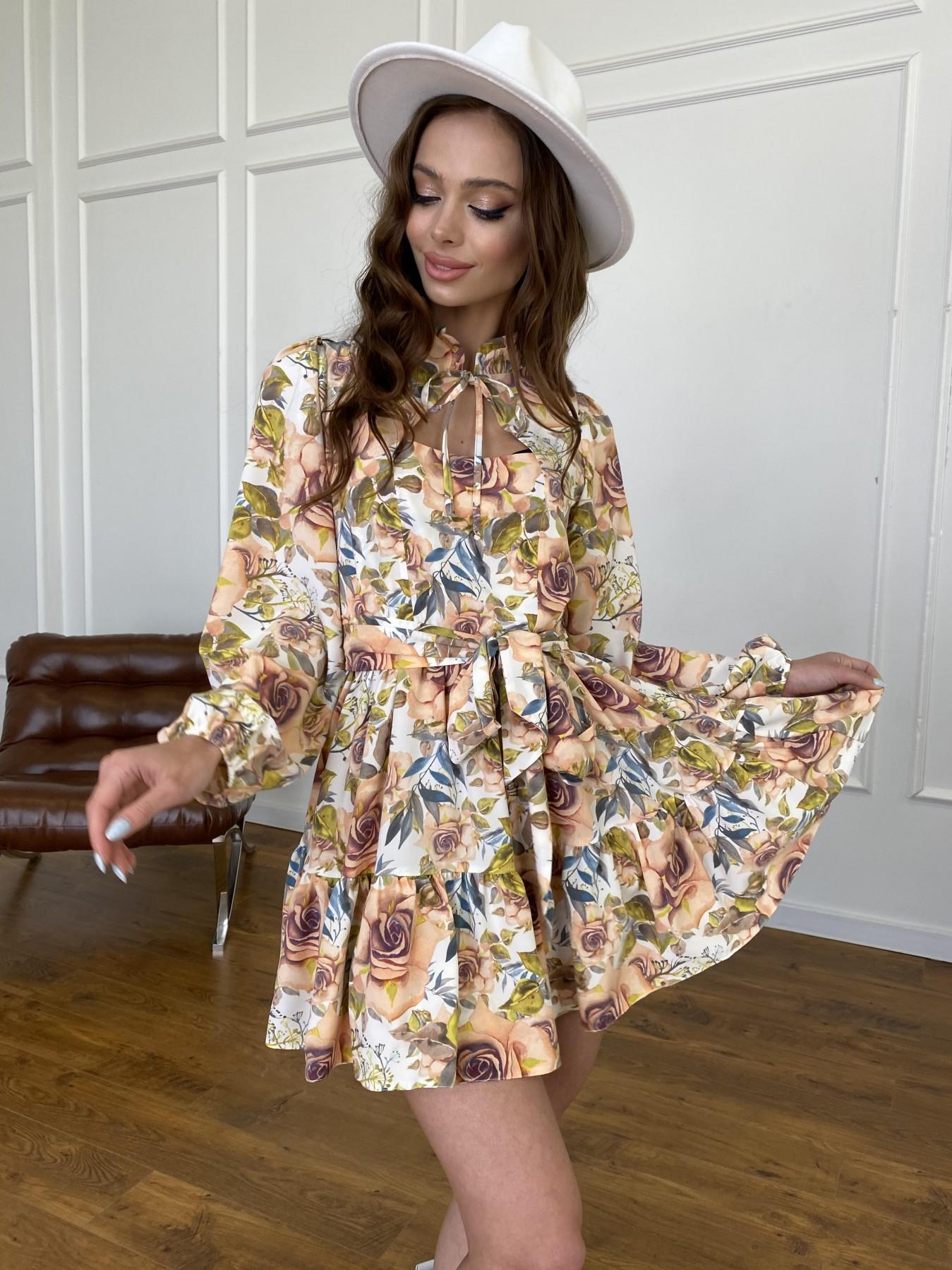 Марселла платье  софт принт бистрейч 11200 АРТ. 47710 Цвет: Кр.розы/молоко/персик - фото 7, интернет магазин tm-modus.ru