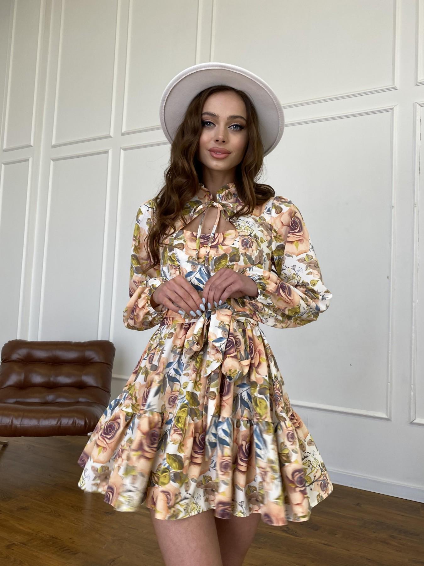 Марселла платье  софт принт бистрейч 11200 АРТ. 47710 Цвет: Кр.розы/молоко/персик - фото 8, интернет магазин tm-modus.ru