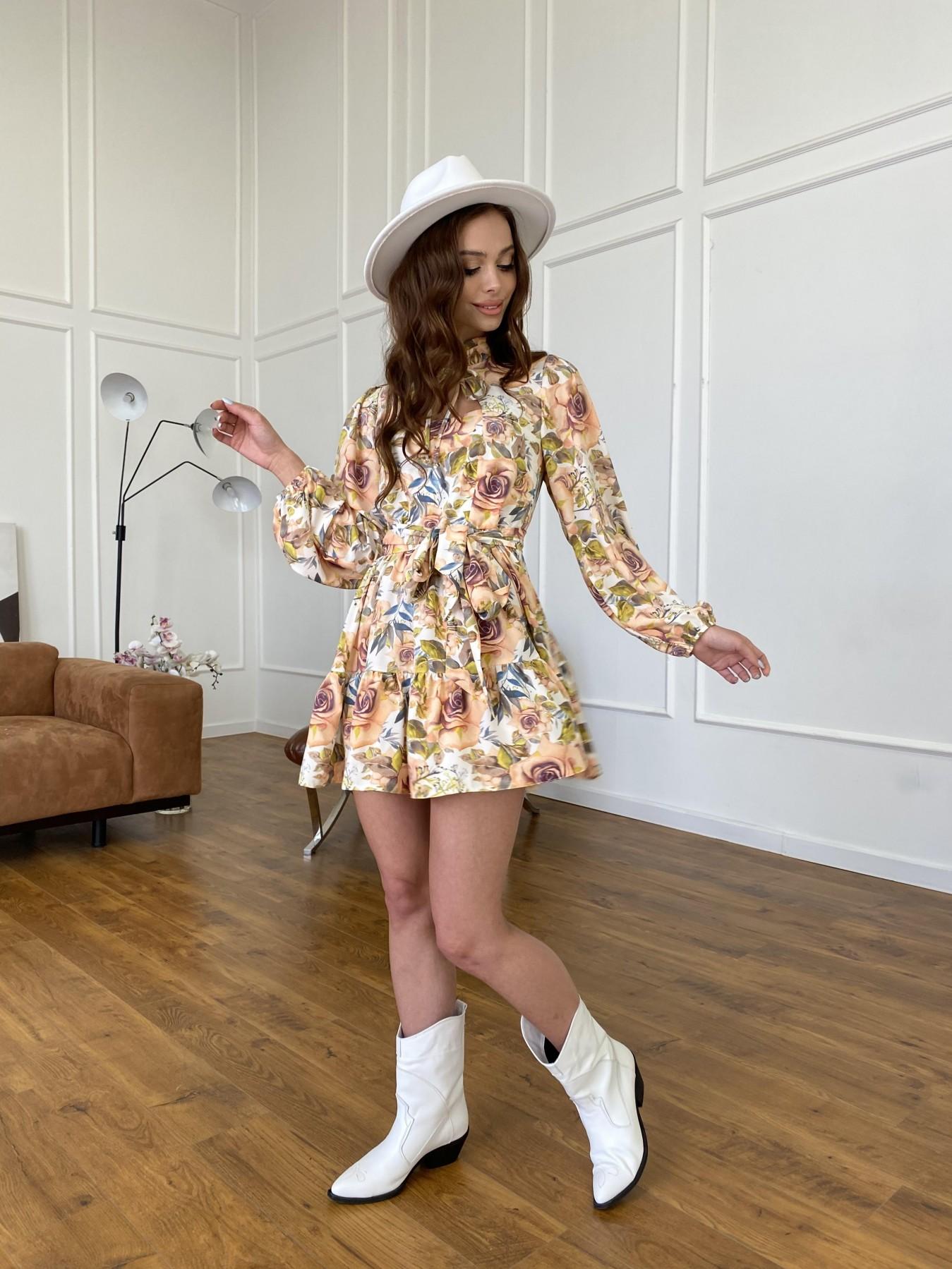 Марселла платье  софт принт бистрейч 11200 АРТ. 47710 Цвет: Кр.розы/молоко/персик - фото 10, интернет магазин tm-modus.ru
