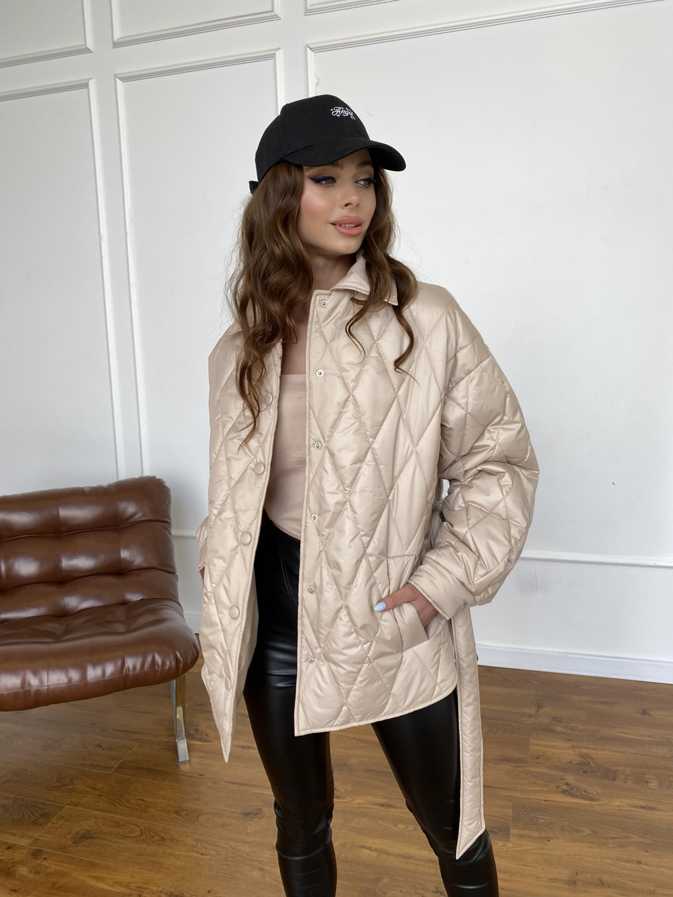 Моно  куртка из плащевой ткани Gloria 11081 АРТ. 47571 Цвет: Бежевый - фото 4, интернет магазин tm-modus.ru