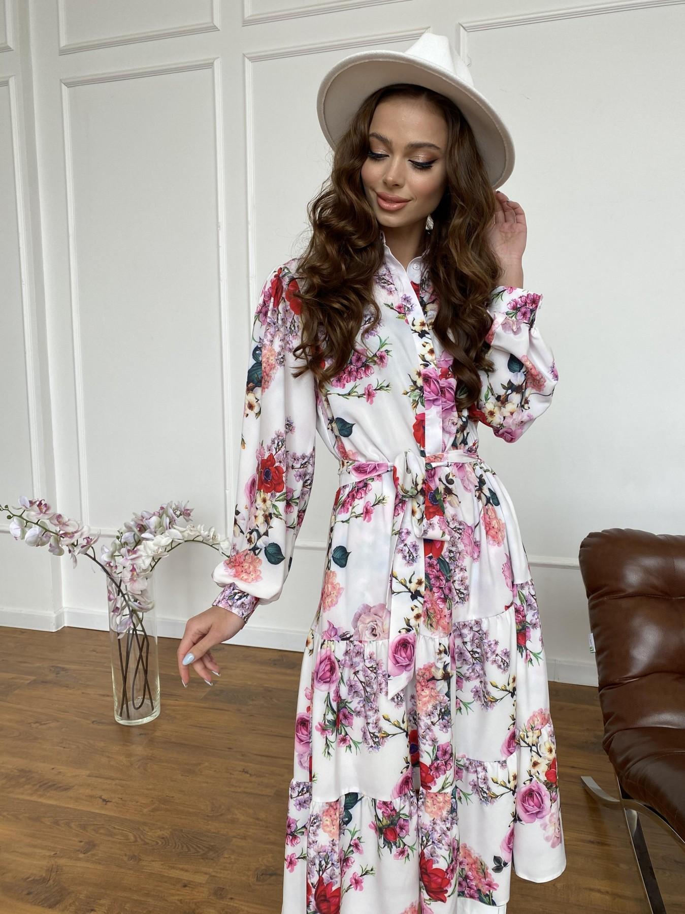 Лилия платье  софт принт бистрейч 11171 АРТ. 47709 Цвет: ВесенБукетМол/Роз/Крас - фото 1, интернет магазин tm-modus.ru