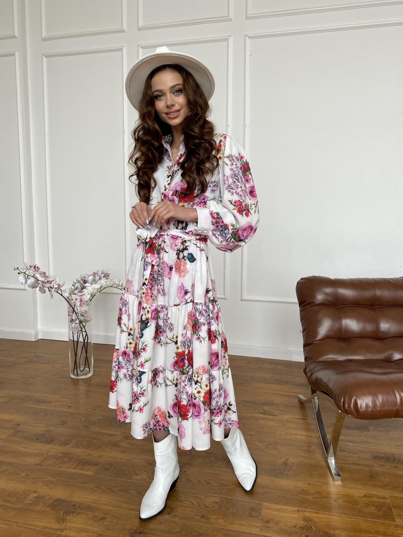 Лилия платье  софт принт бистрейч 11171 АРТ. 47709 Цвет: ВесенБукетМол/Роз/Крас - фото 3, интернет магазин tm-modus.ru