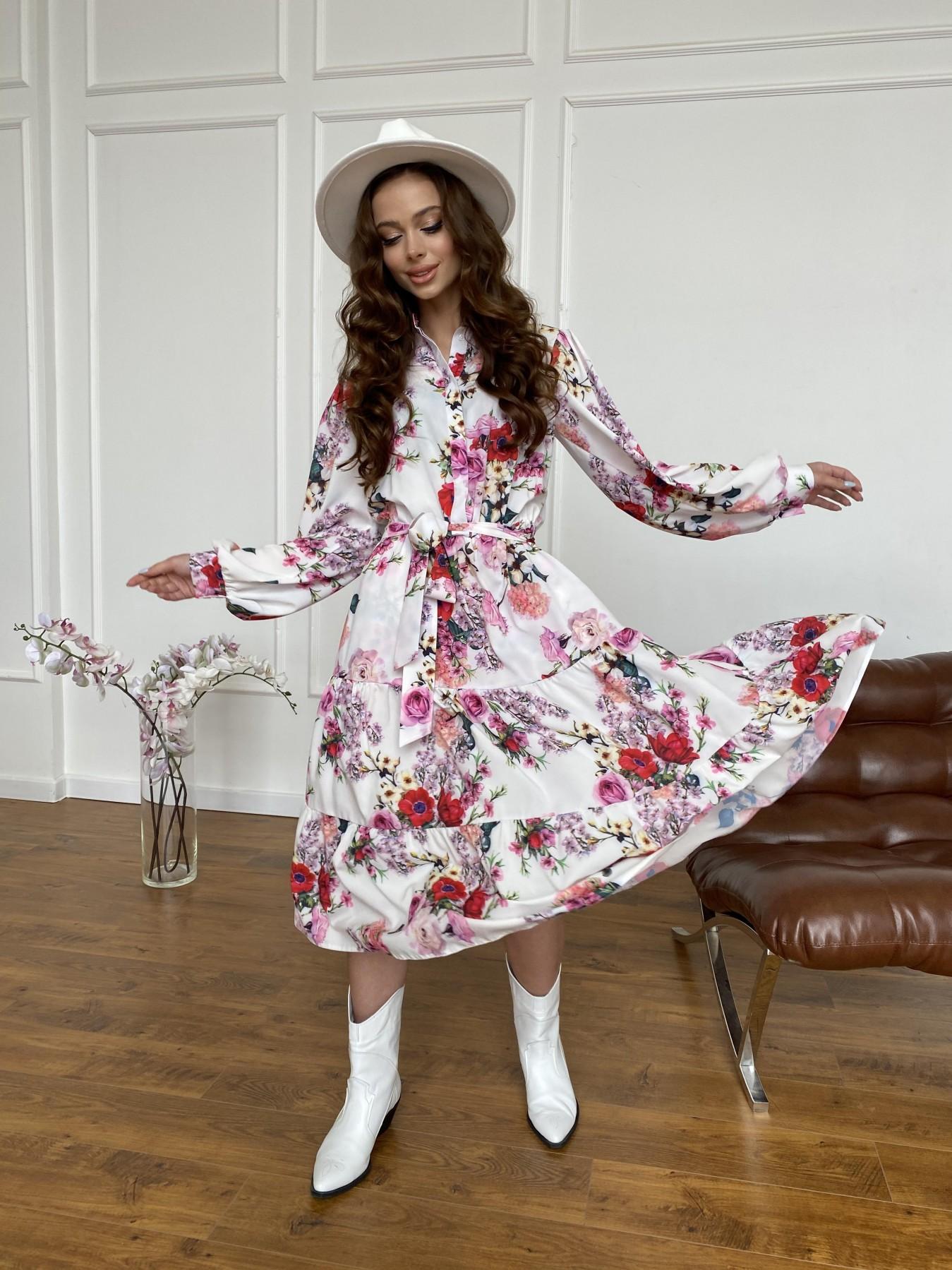 Лилия платье  софт принт бистрейч 11171 АРТ. 47709 Цвет: ВесенБукетМол/Роз/Крас - фото 4, интернет магазин tm-modus.ru