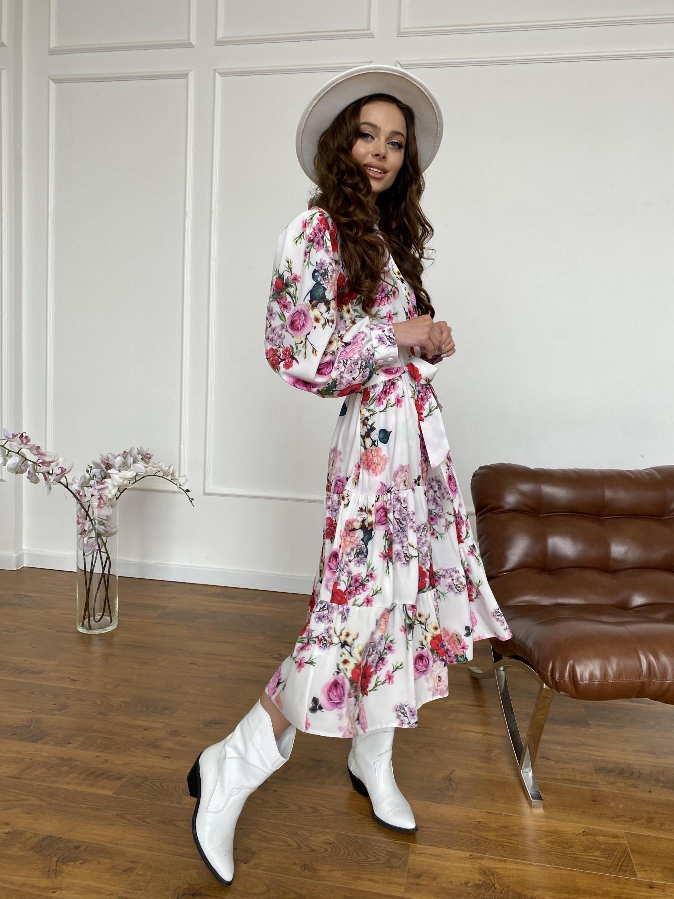 Лилия платье  софт принт бистрейч 11171 АРТ. 47709 Цвет: ВесенБукетМол/Роз/Крас - фото 5, интернет магазин tm-modus.ru