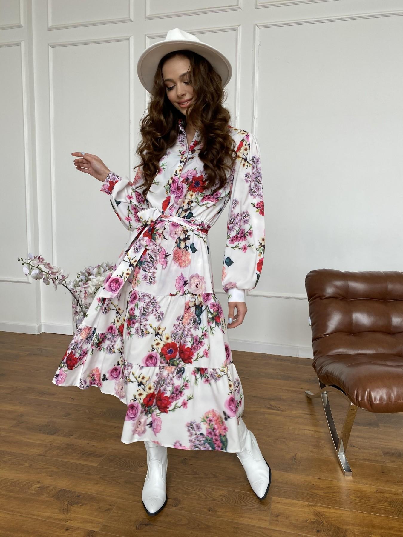 Лилия платье  софт принт бистрейч 11171 АРТ. 47709 Цвет: ВесенБукетМол/Роз/Крас - фото 6, интернет магазин tm-modus.ru